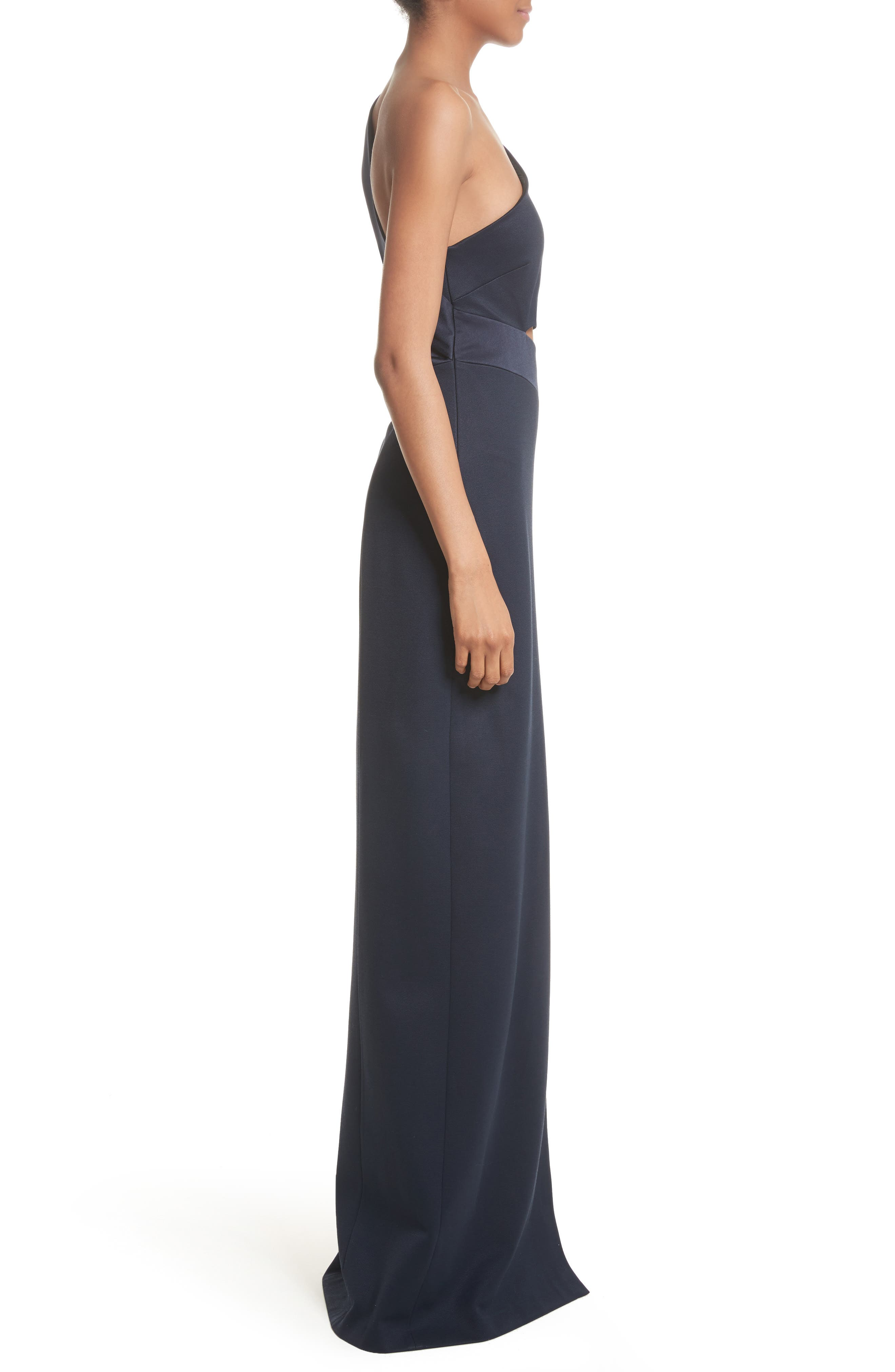 Cutout One-Shoulder Gown,                             Alternate thumbnail 5, color,                             Midnight