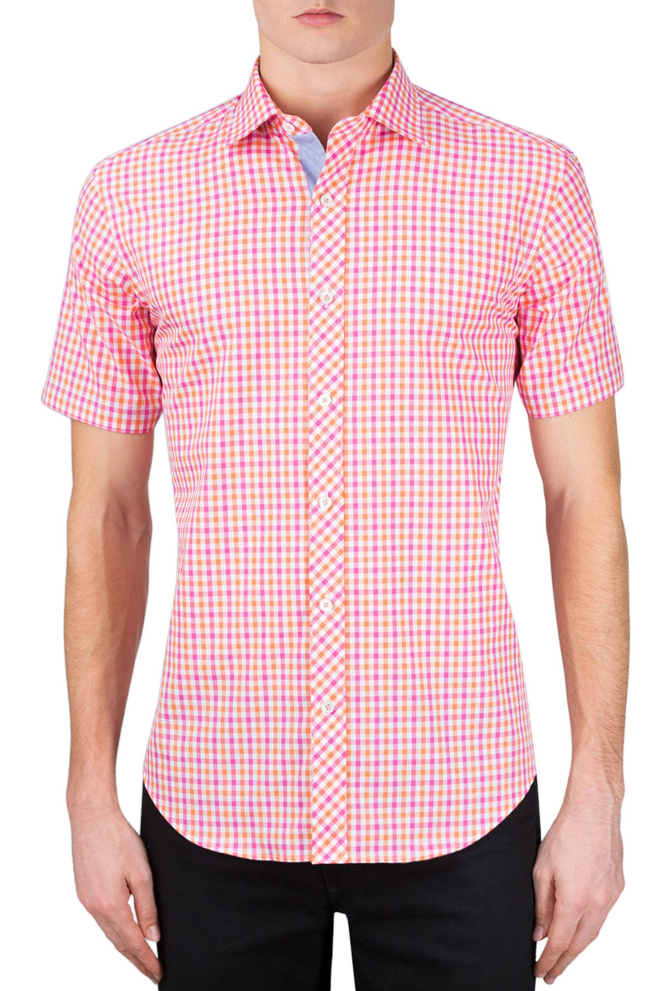 Classic Fit Check Sport Shirt,                         Main,                         color, Coral