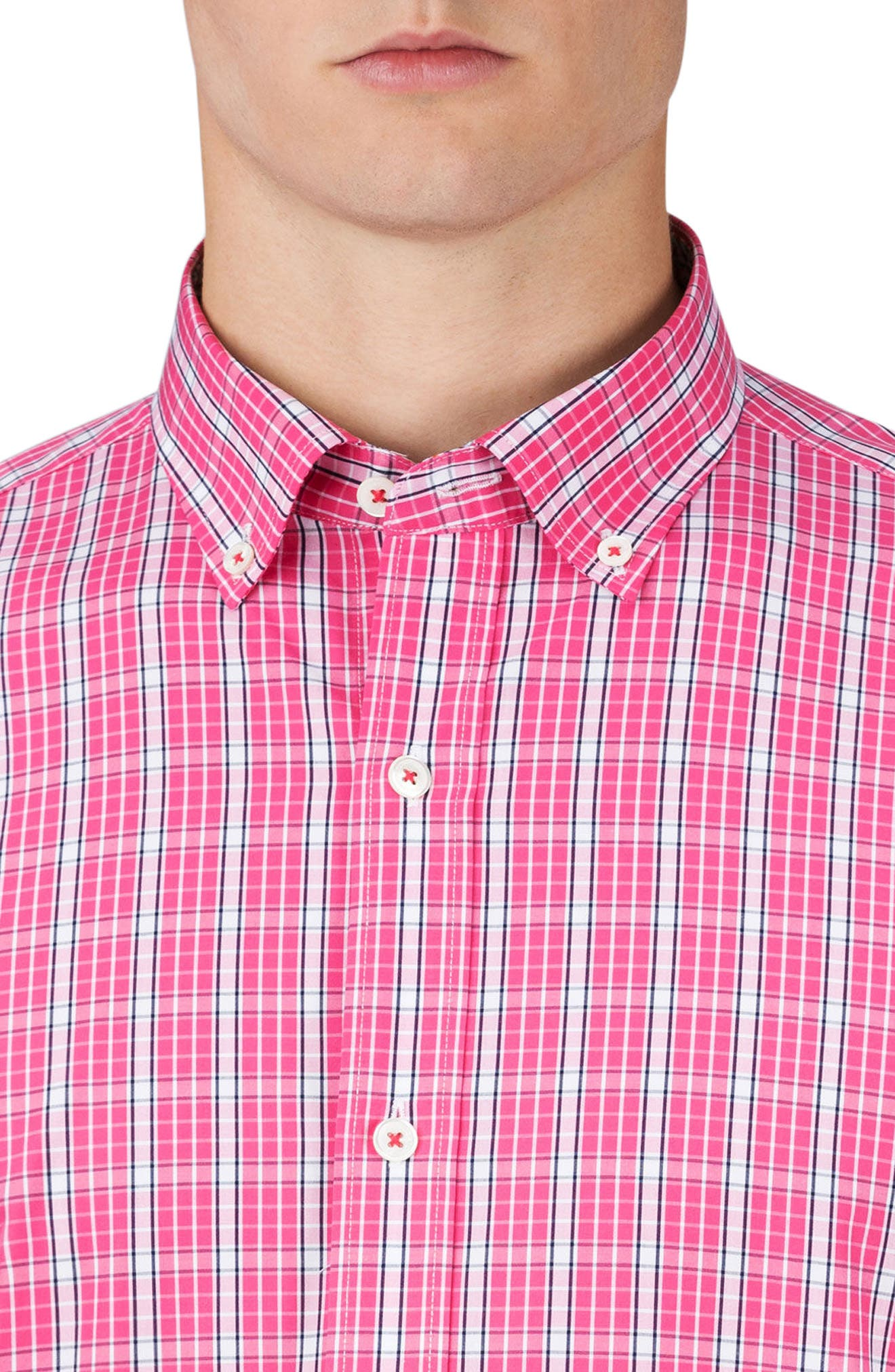 Classic Fit Grid Print Sport Shirt,                             Alternate thumbnail 3, color,                             Pink