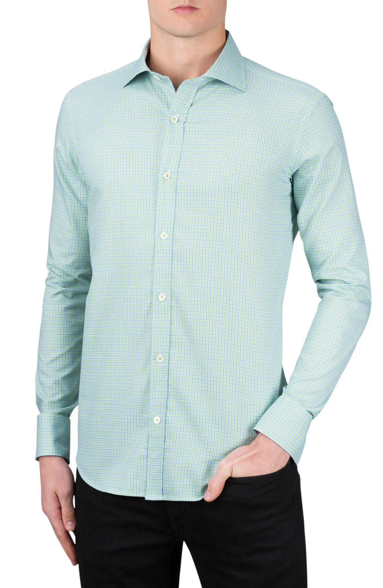 Classic Fit Plaid Sport Shirt,                         Main,                         color, Paradise