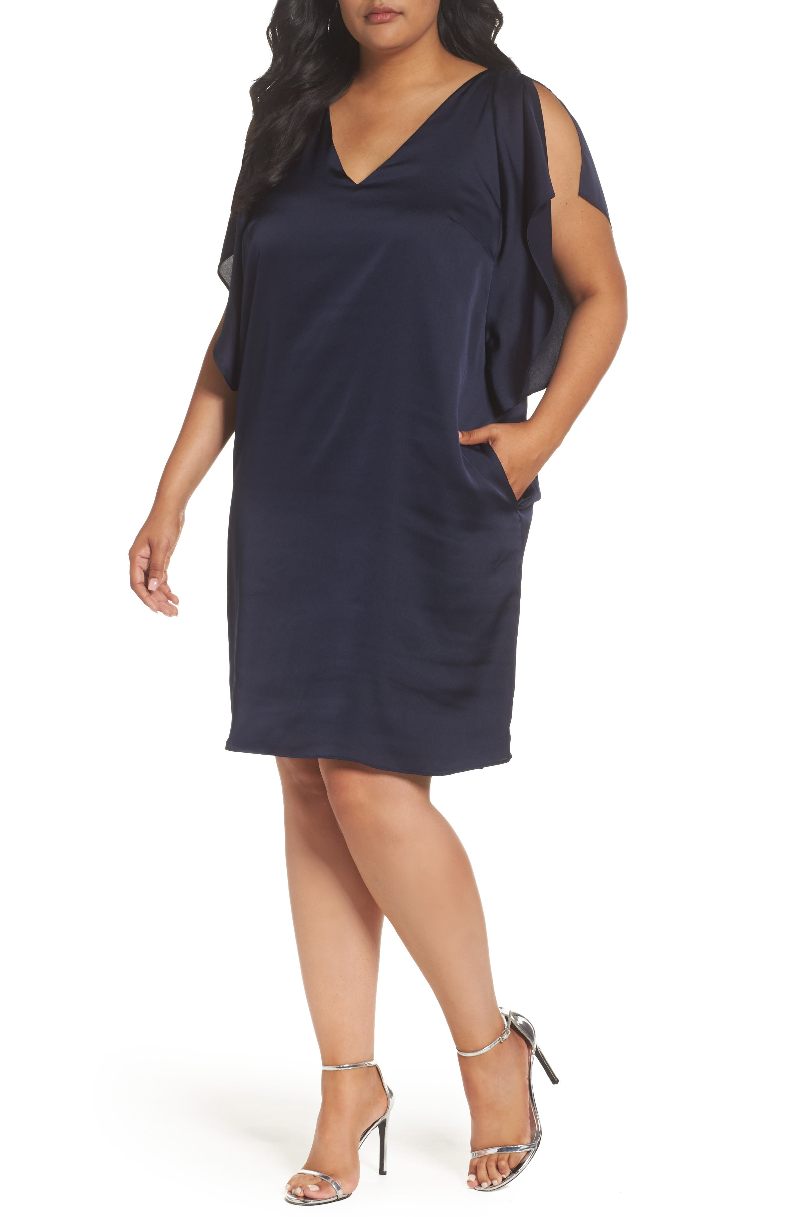 Main Image - RACHEL Rachel Roy Flutter Sleeve Shift Dress (Plus Size)