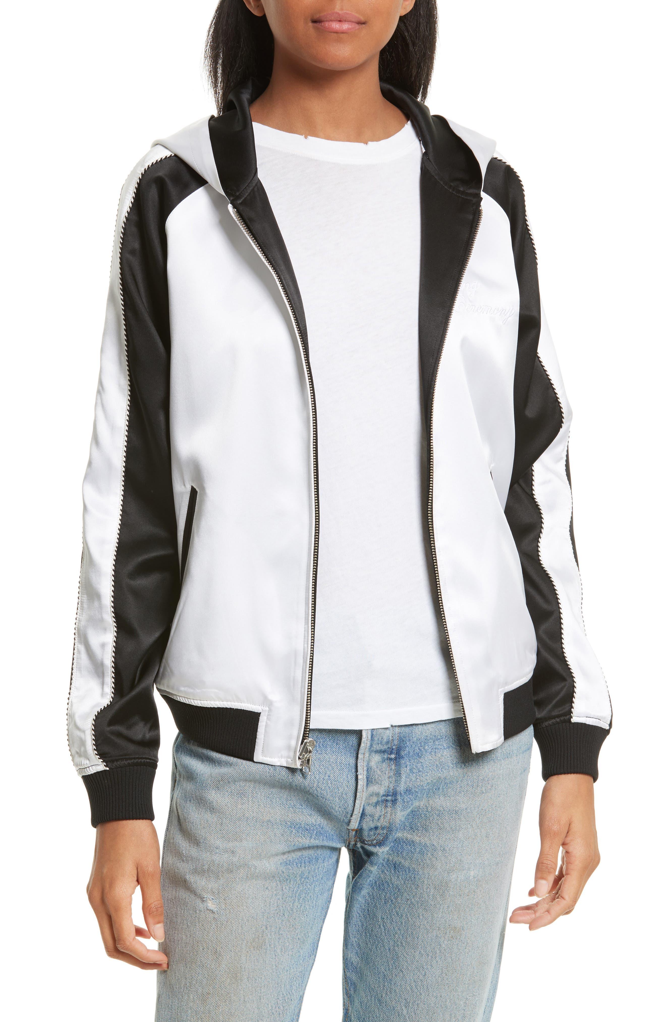 OC Reversible Silk Track Jacket,                             Main thumbnail 1, color,                             Black Multi