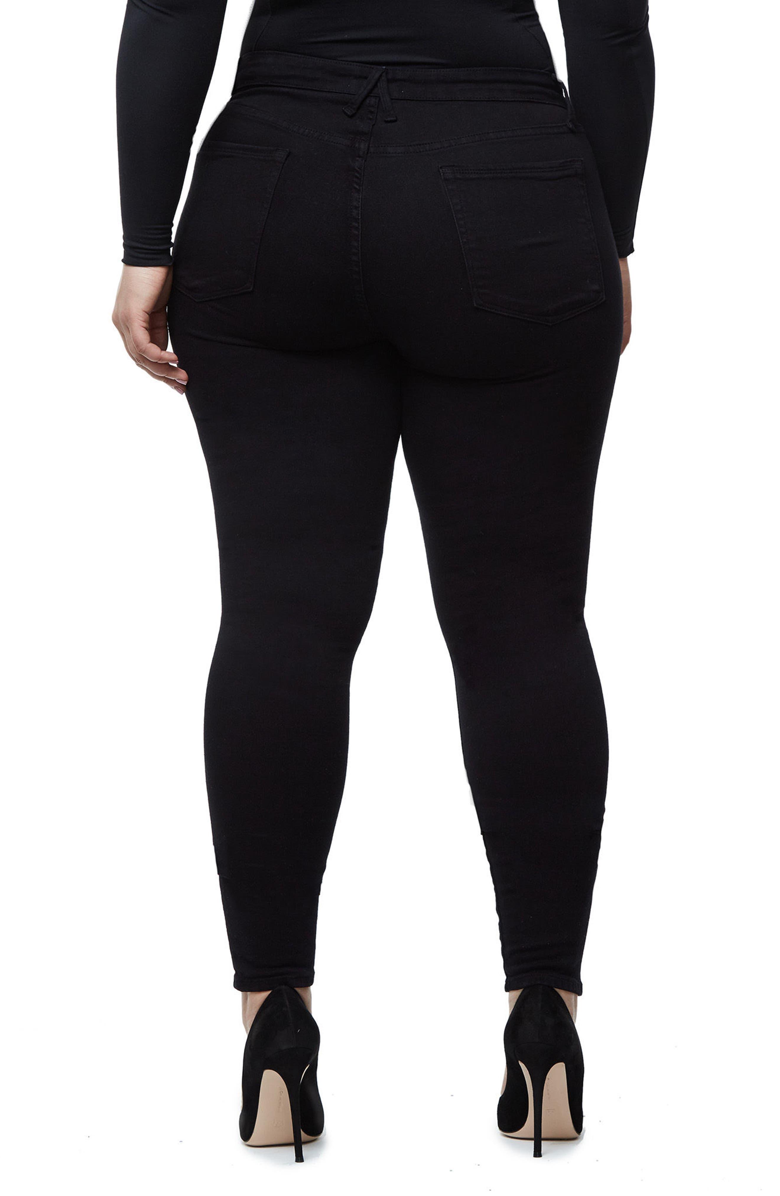 High Waist Side Zip Skinny Jeans,                             Alternate thumbnail 8, color,                             Black001