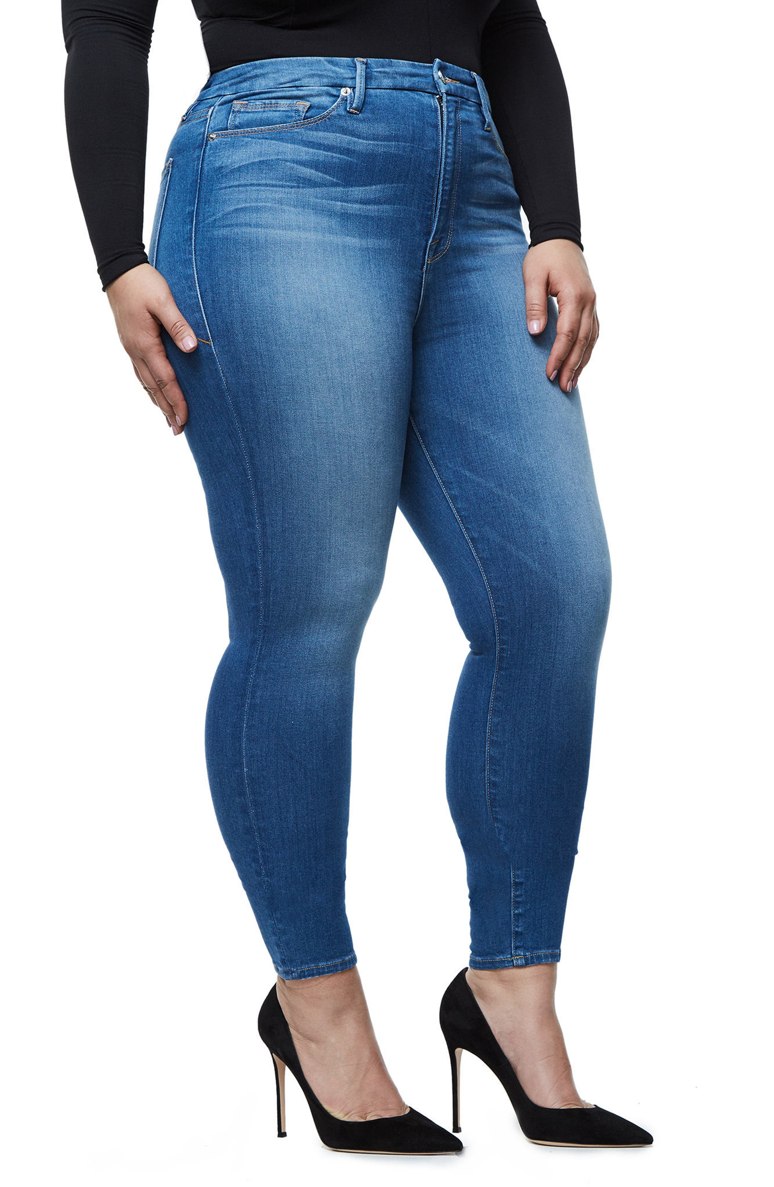 Alternate Image 9  - Good American Good Waist High Waist Crop Skinny Jeans (Blue 056) (Extended Sizes)