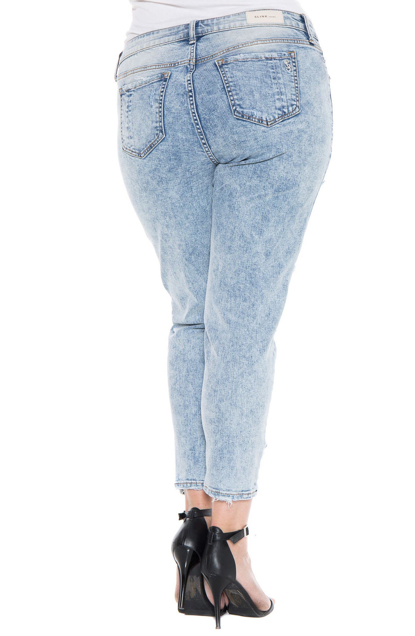 Alternate Image 2  - SLINK Jeans Destroyed Boyfriend Jeans (Amelia) (Plus Size)