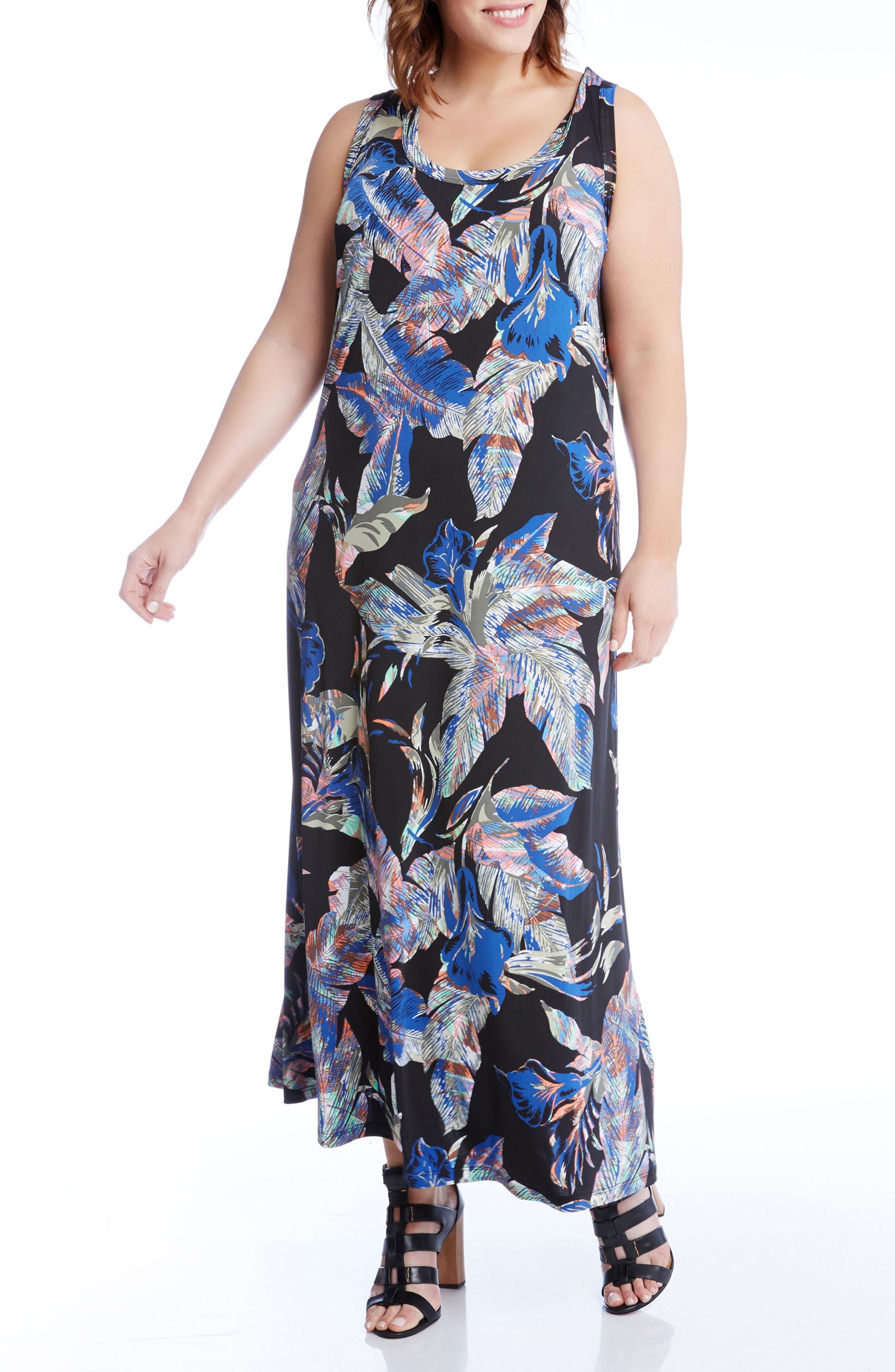 Karen Kane Leaf Print Jersey Maxi Tank Dress (Plus Size)