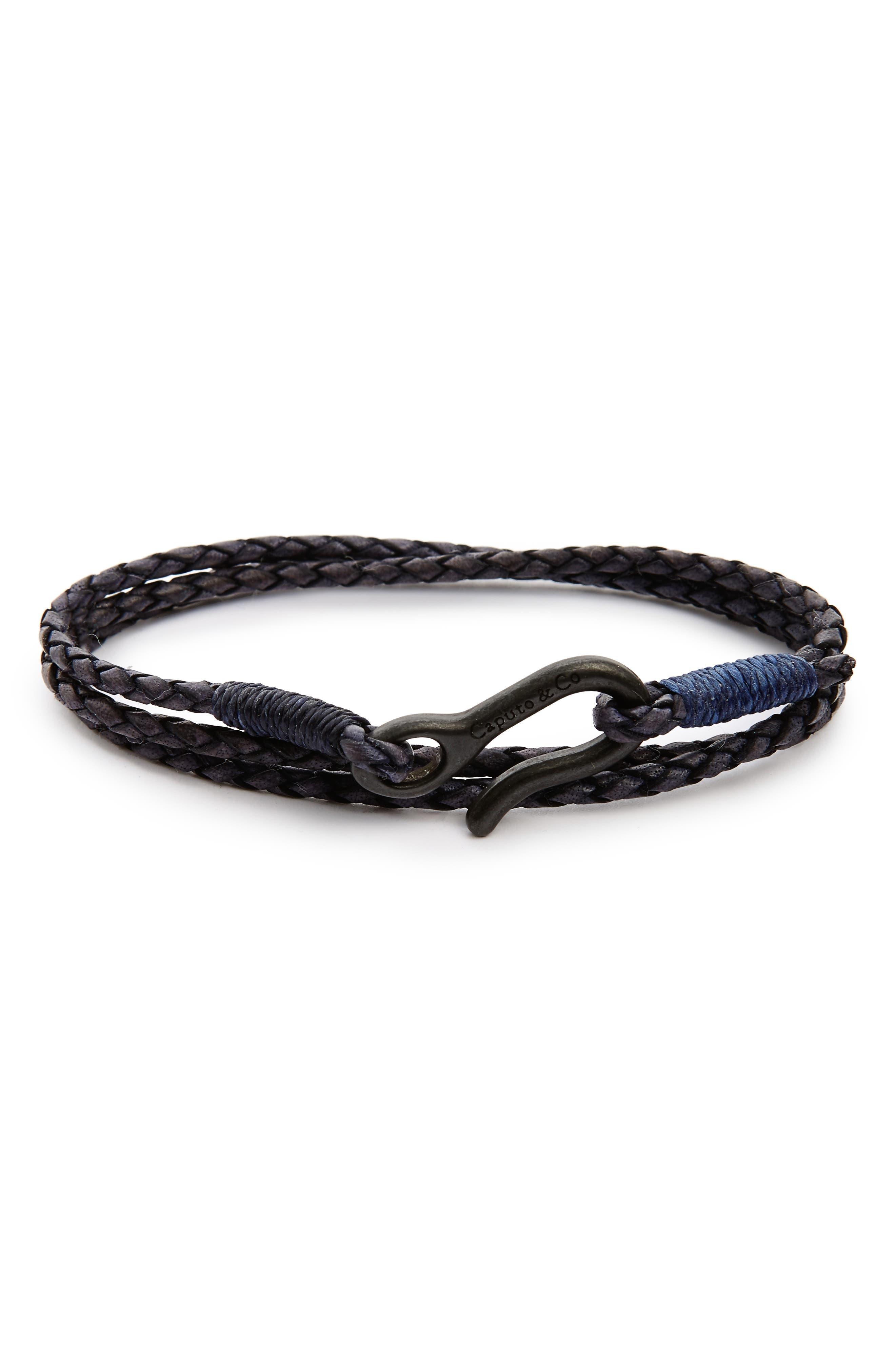 Leather Wrap Bracelet,                         Main,                         color, Antique Navy