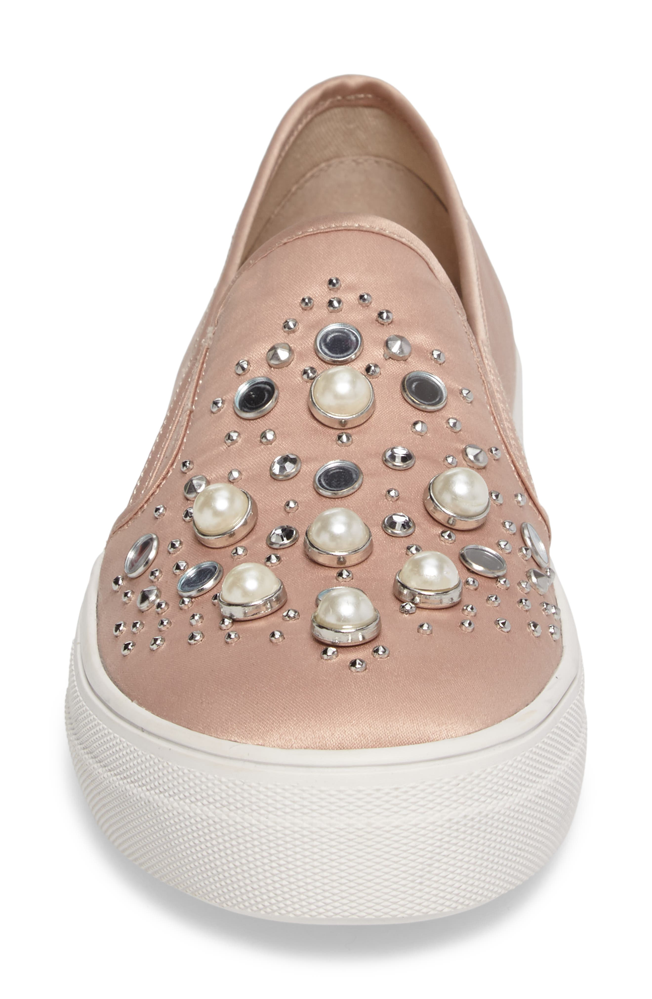 Glade Embellished Slip-On Sneaker,                             Alternate thumbnail 4, color,                             Blush Satin
