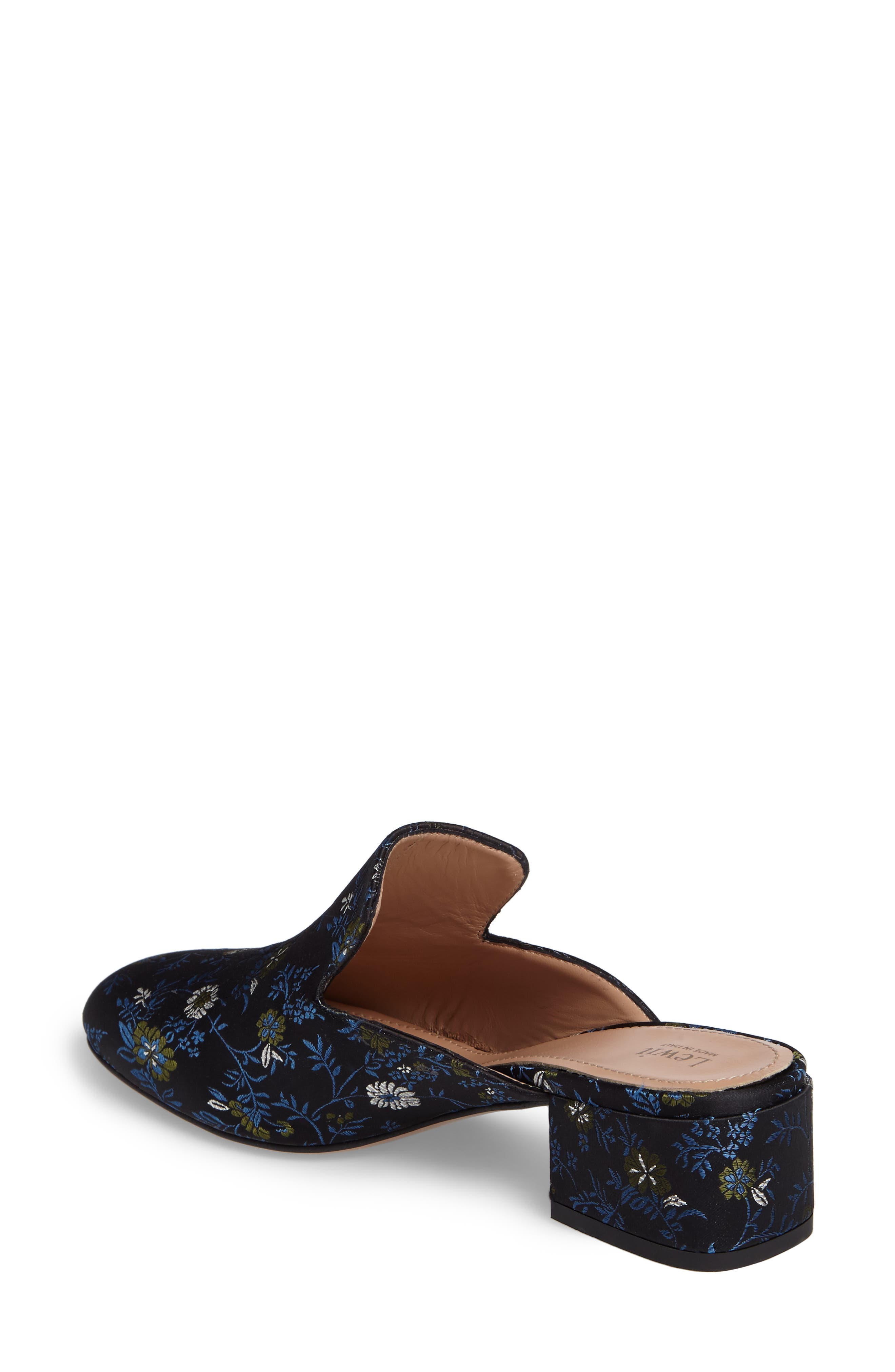 Bianca Embroidered Loafer Mule,                             Alternate thumbnail 2, color,                             Black/ Blue Floral Fabric
