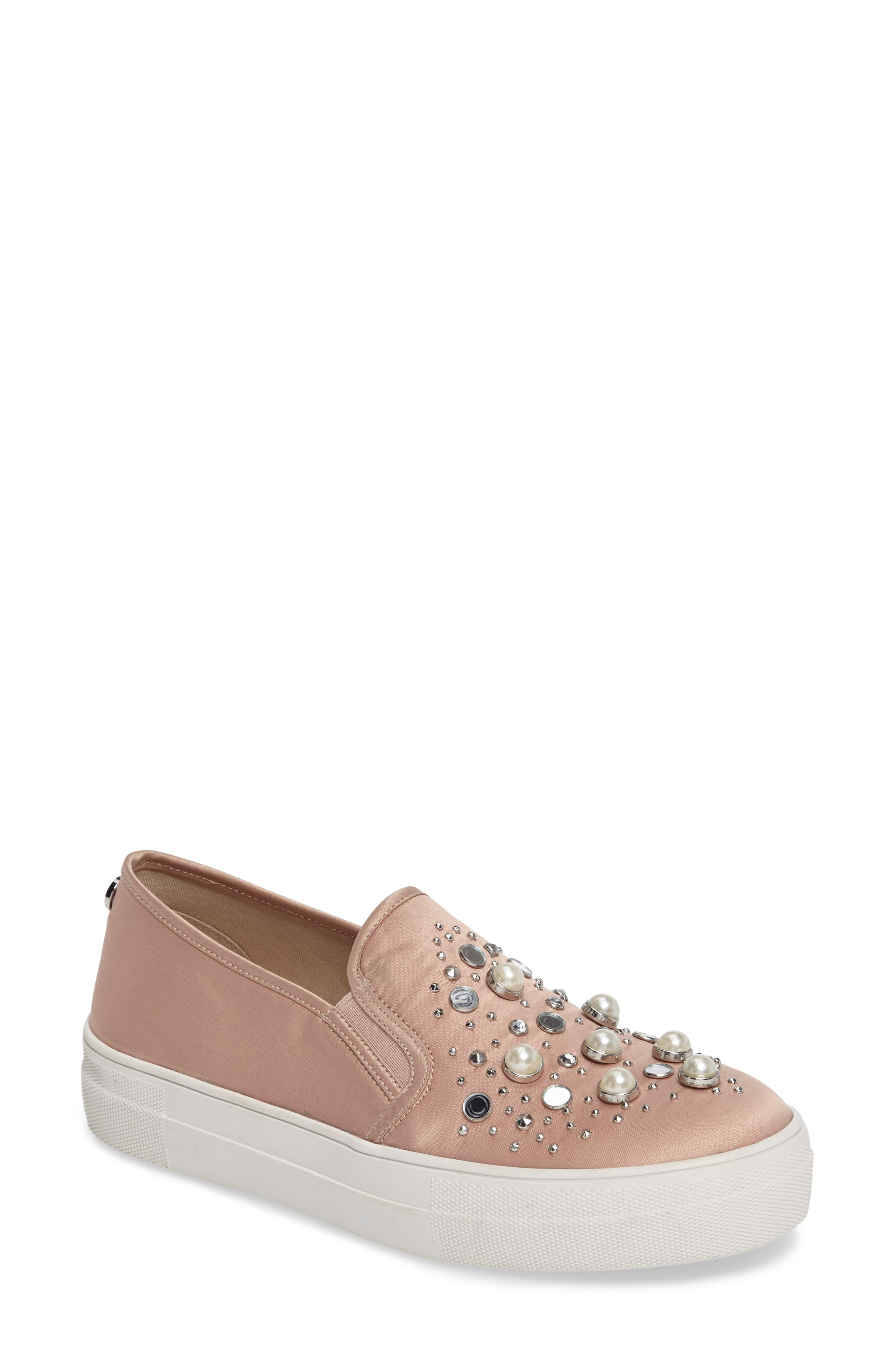 Glade Embellished Slip-On Sneaker,                             Main thumbnail 1, color,                             Blush Satin