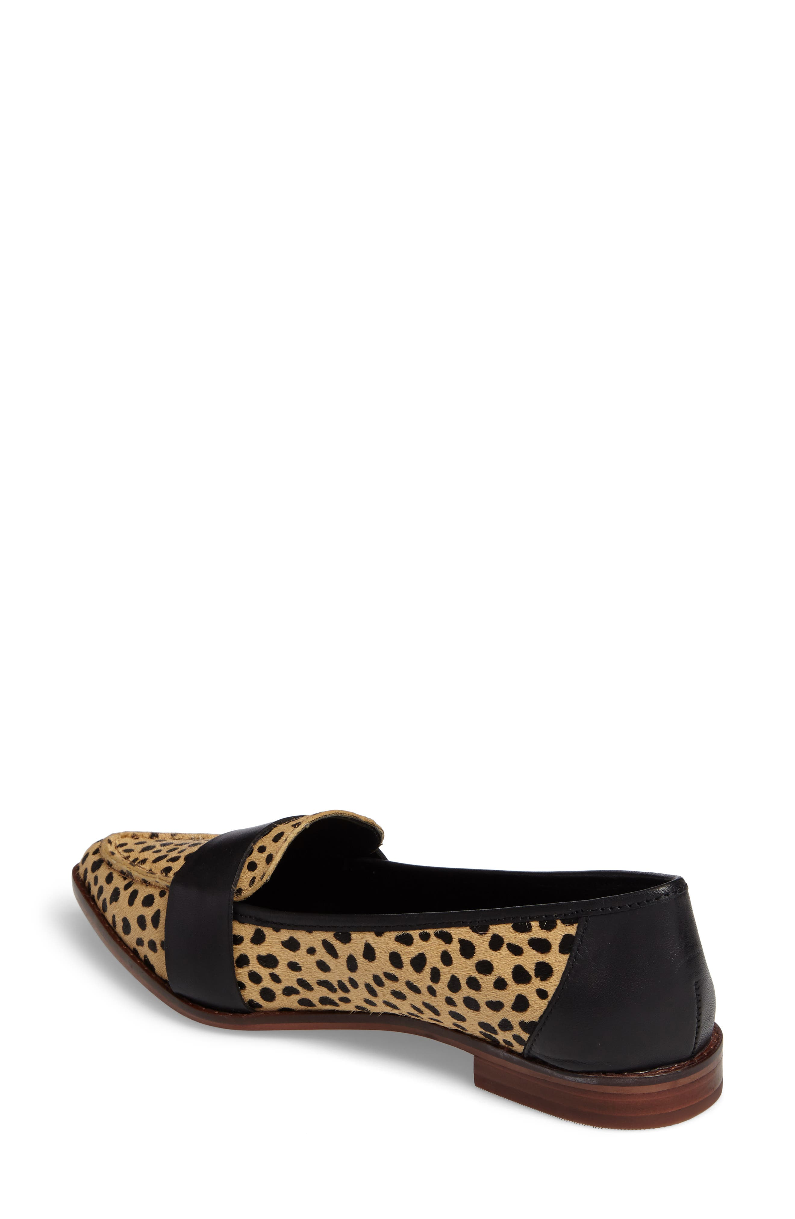 Edie Pointy Toe Loafer,                             Alternate thumbnail 2, color,                             Cheetah Calfhair