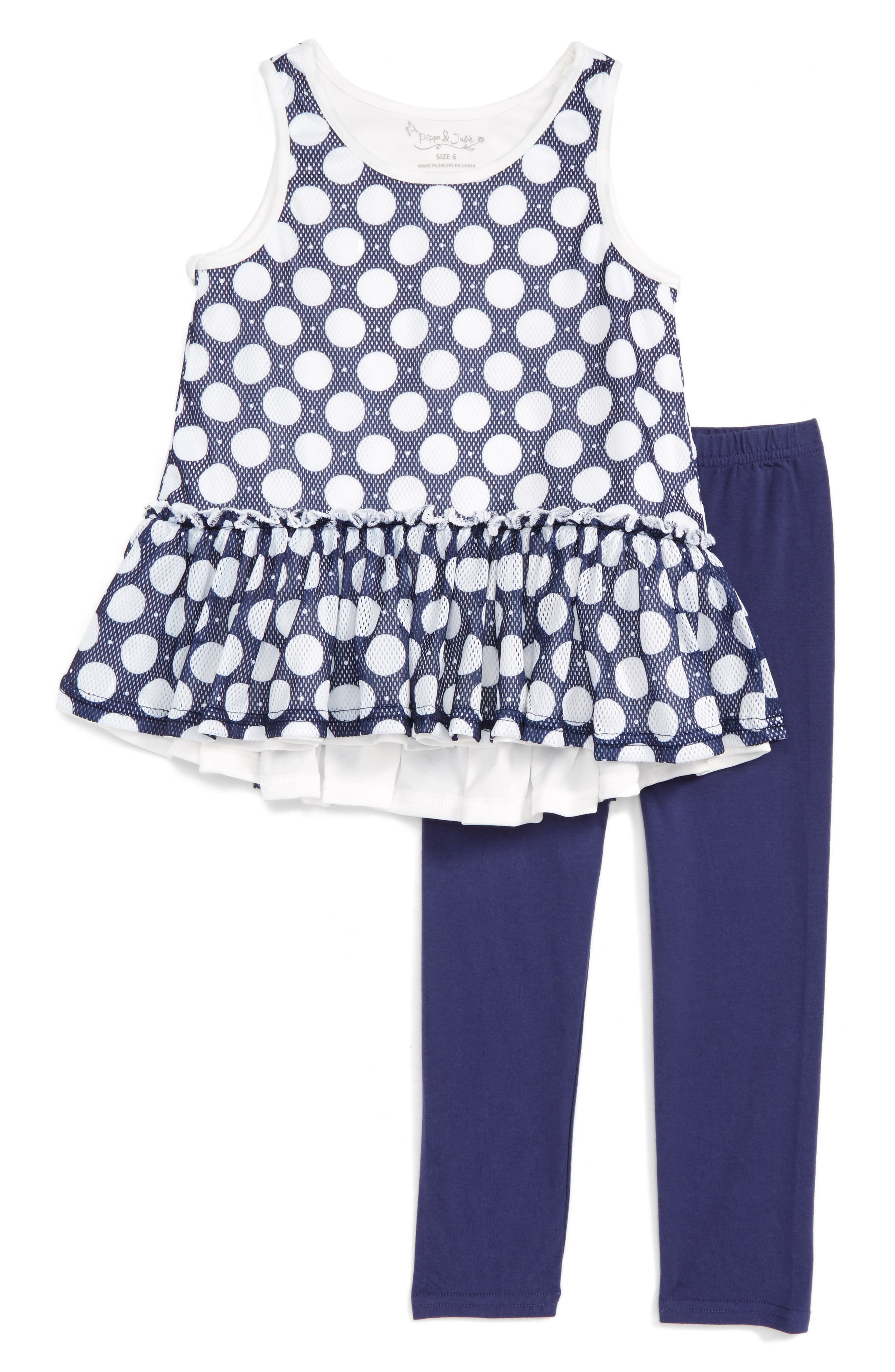 Pippa & Julie Polka Dot Peplum Top & Leggings (Toddler Girls & Little Girls)