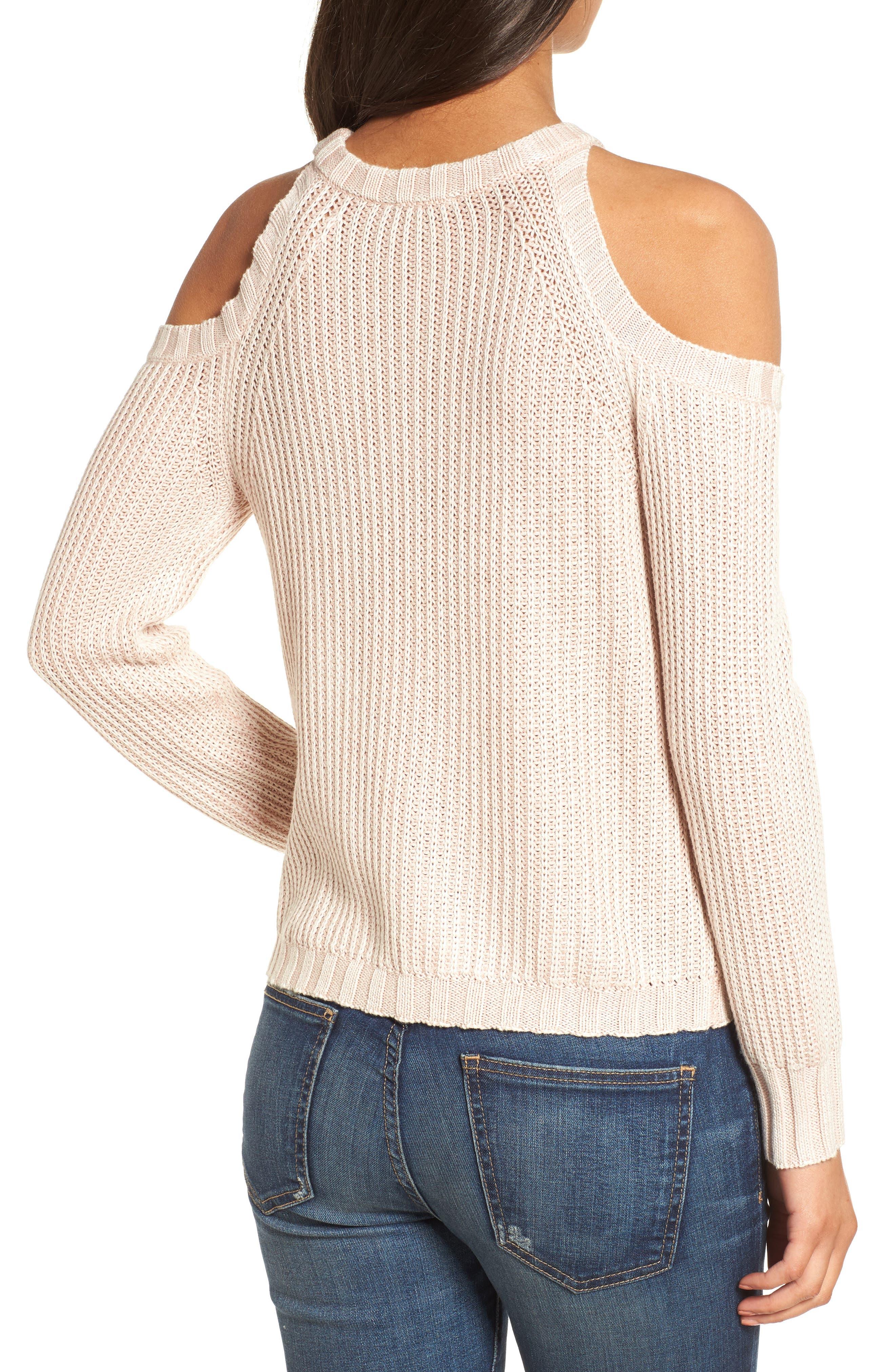 Mika Cold Shoulder Sweater,                             Alternate thumbnail 2, color,                             Blush