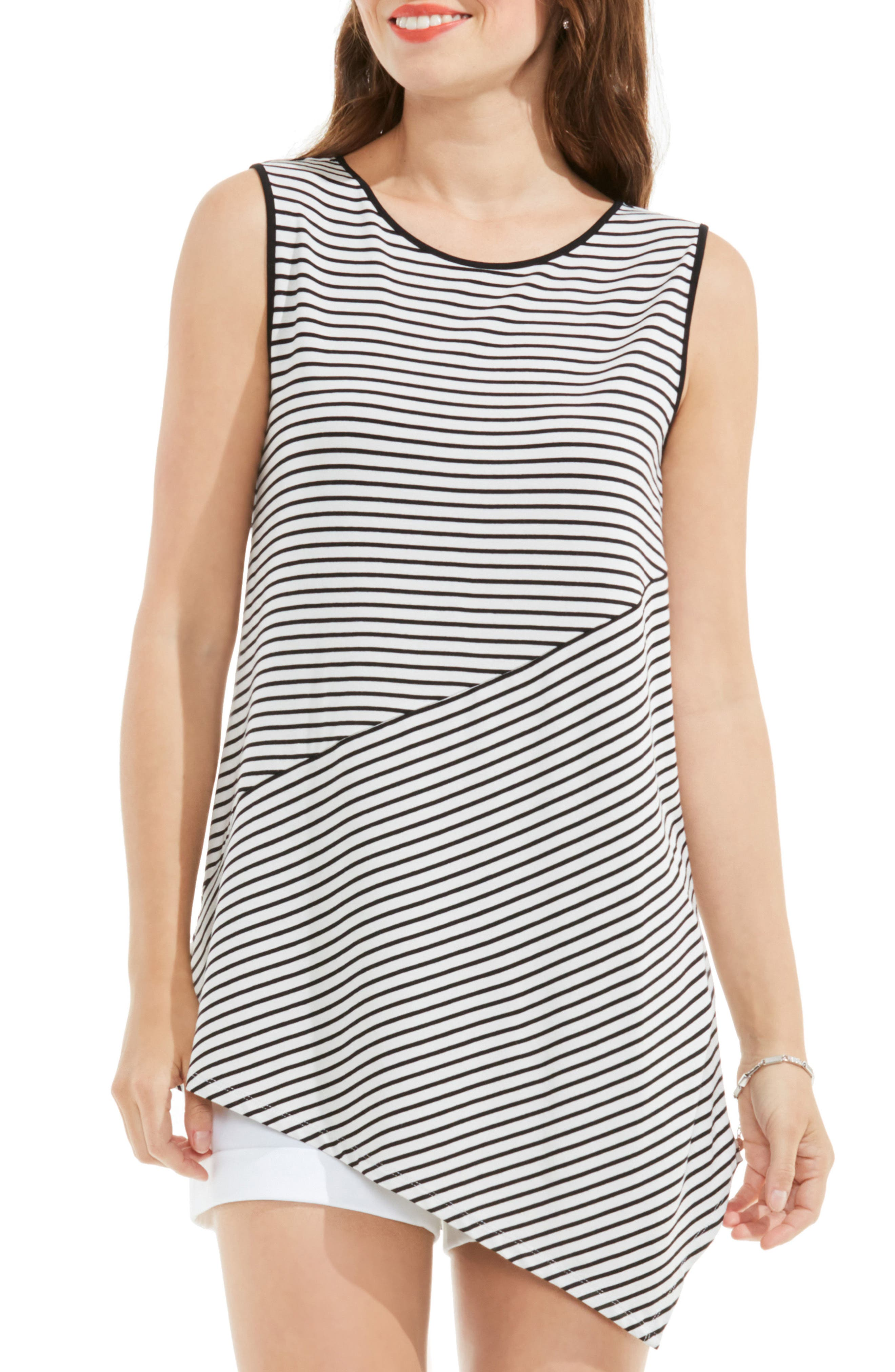 Vince Camuto Asymmetrical Stripe Top (Regular & Petite)