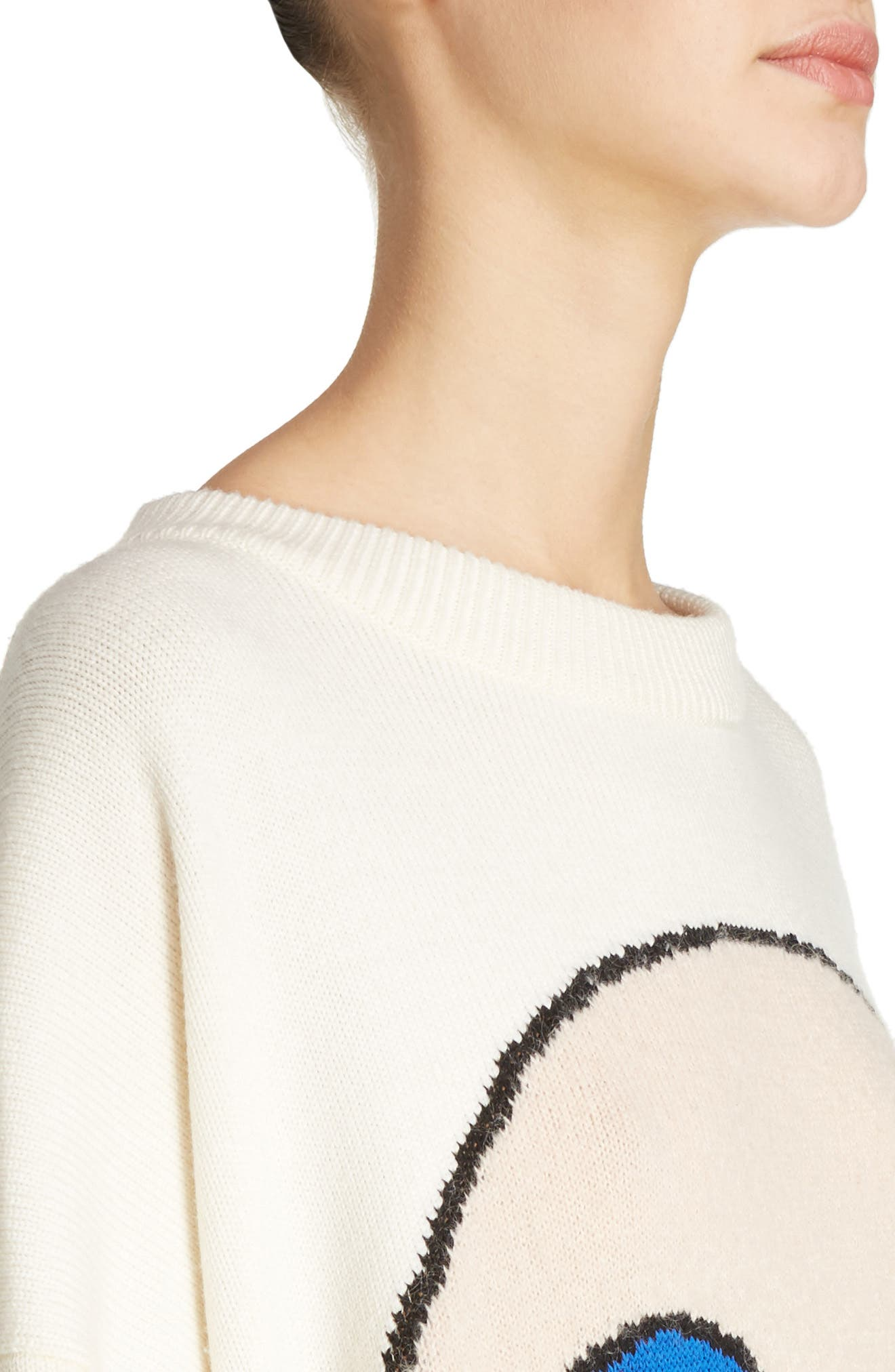 Reisenbauer Intarsia Face Sweater,                             Alternate thumbnail 5, color,                             Natural White
