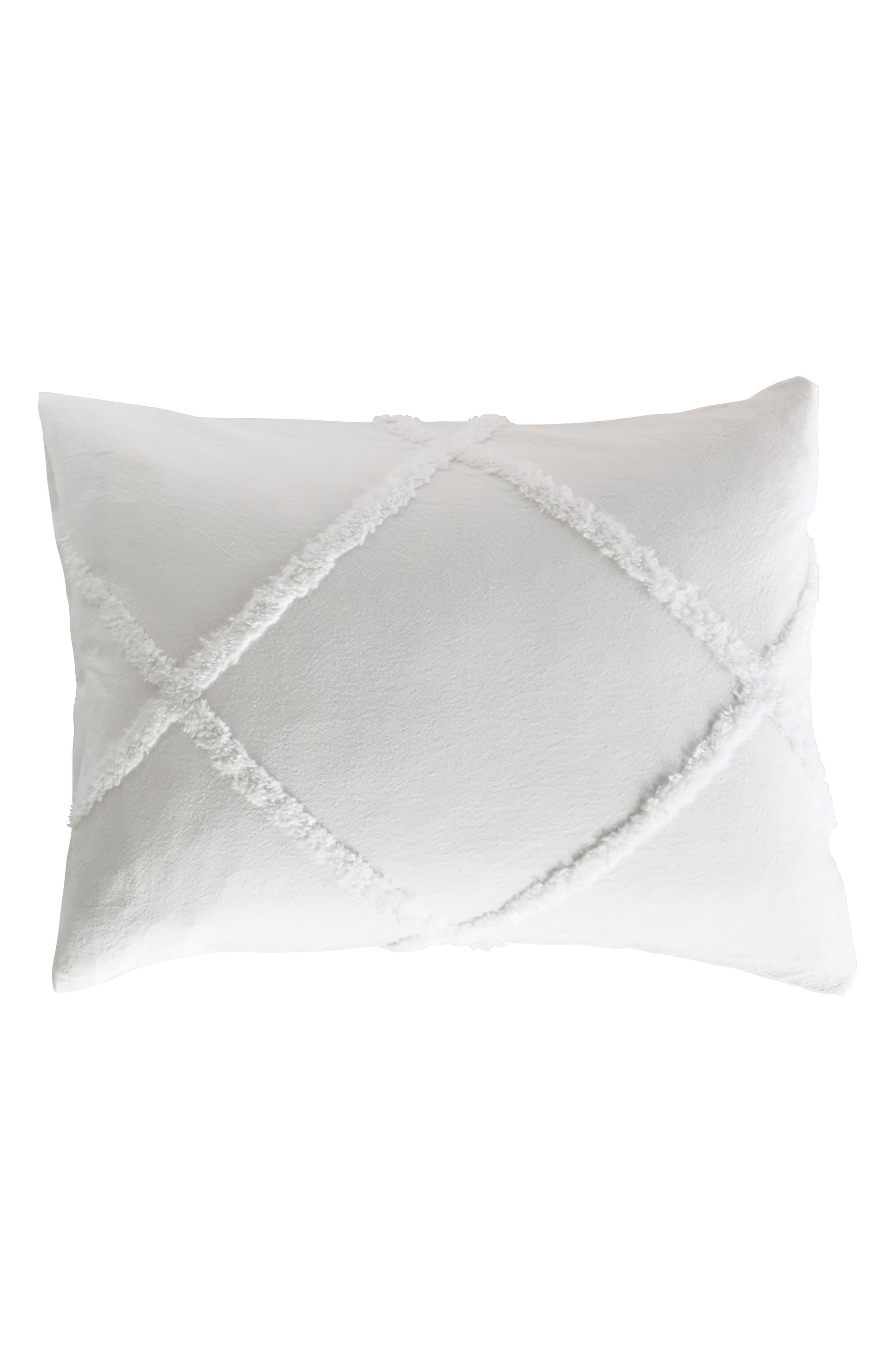 Chenille Lattice Sham,                         Main,                         color, White