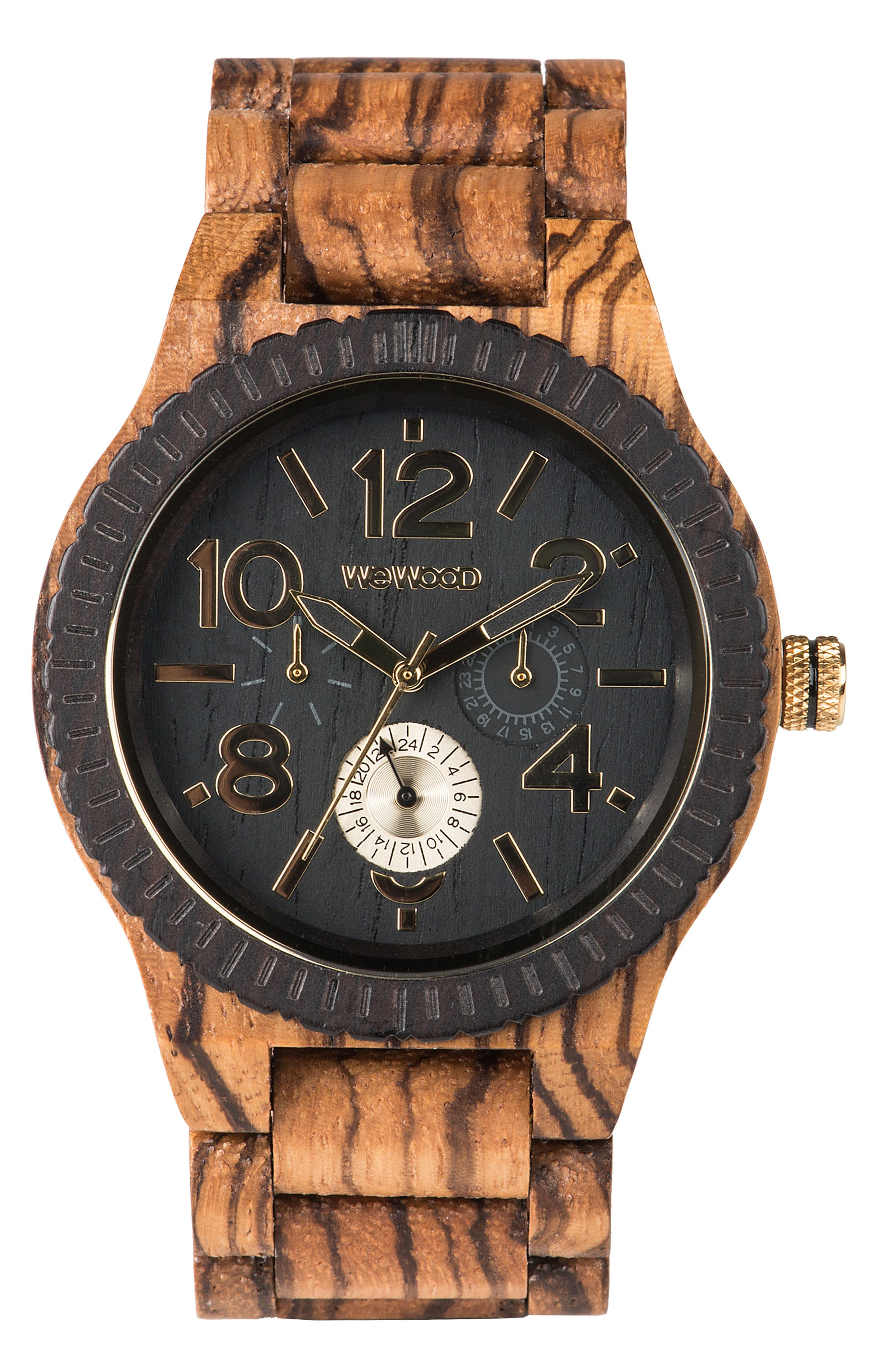 Kardo Multifunctional Wood Bracelet Watch, 46mm,                             Main thumbnail 1, color,                             Brown/ Black