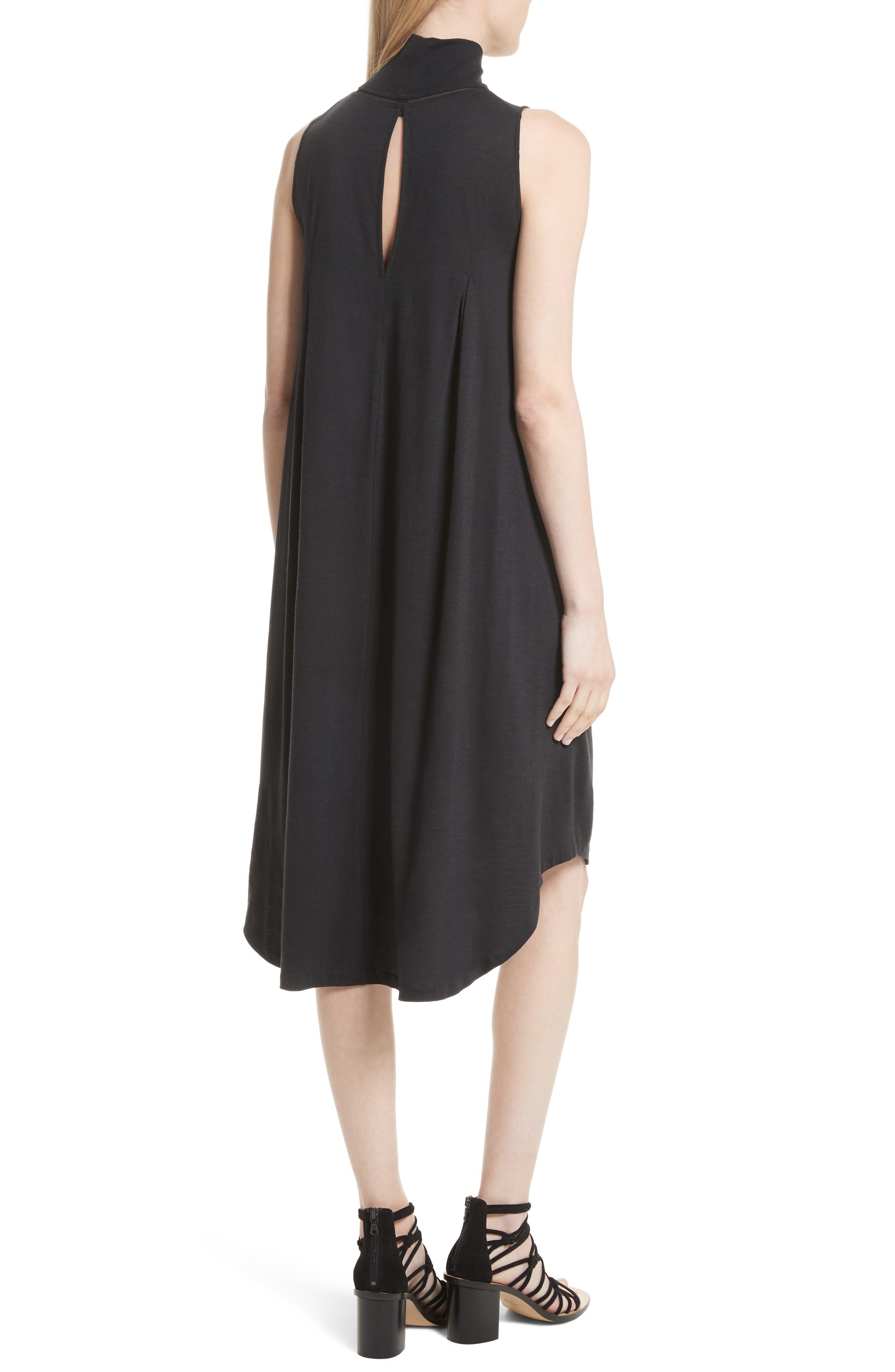 Nova Wool Turtleneck Dress,                             Alternate thumbnail 2, color,                             Black