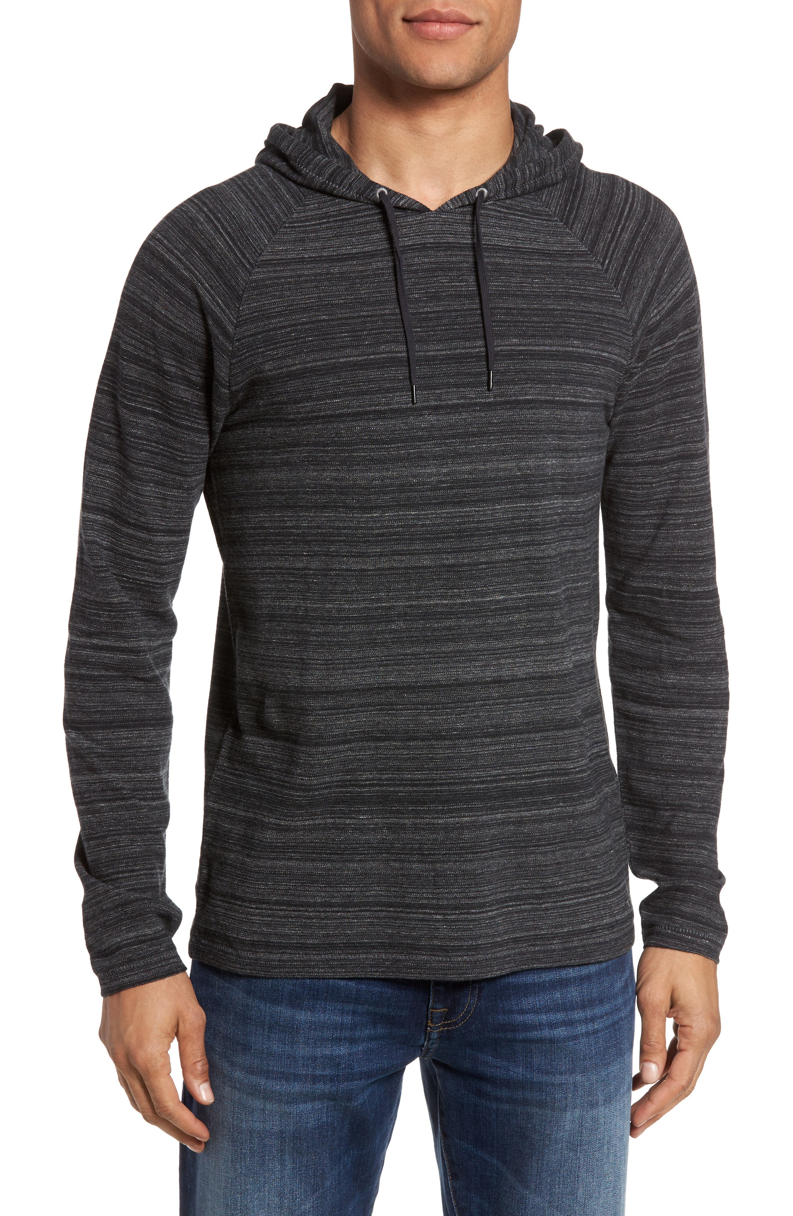 Striated Knit Hoodie,                             Main thumbnail 1, color,                             Black