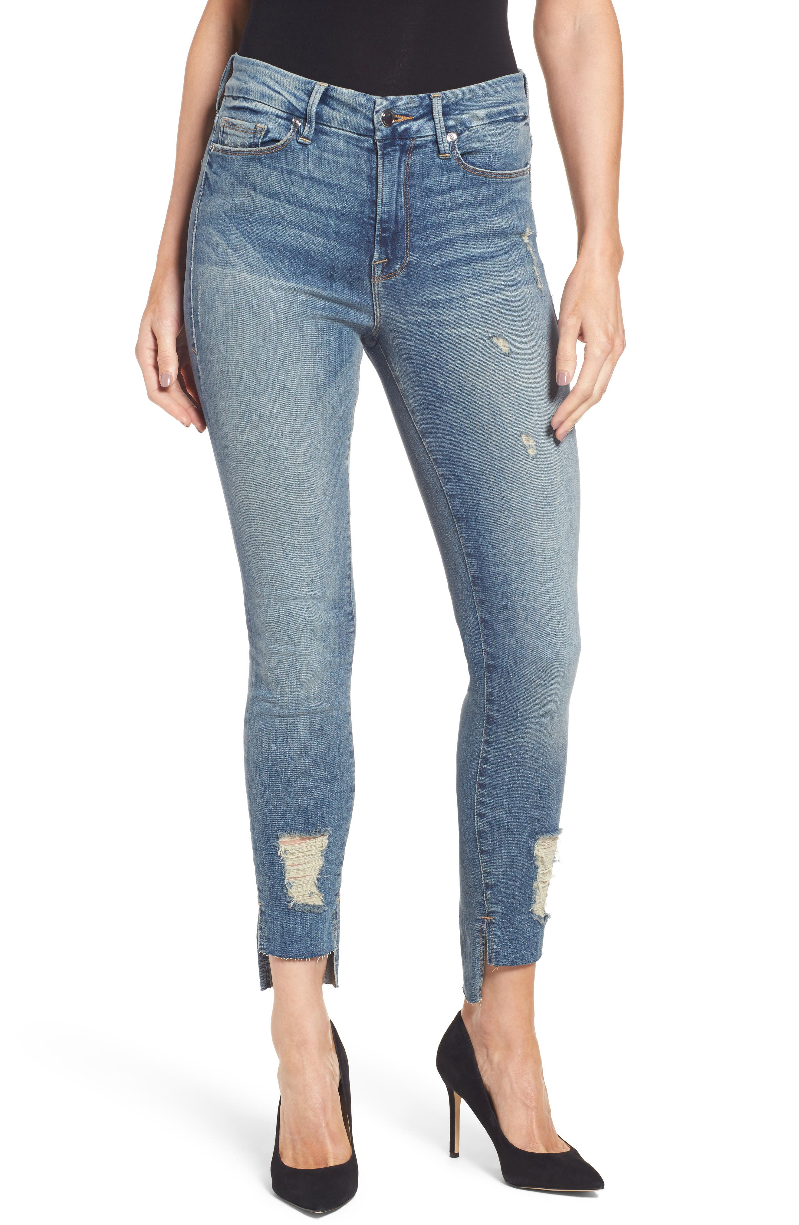 Alternate Image 1 Selected - Good American Good Legs High Waist Skinny Jeans (Blue 082) (Extended Sizes)