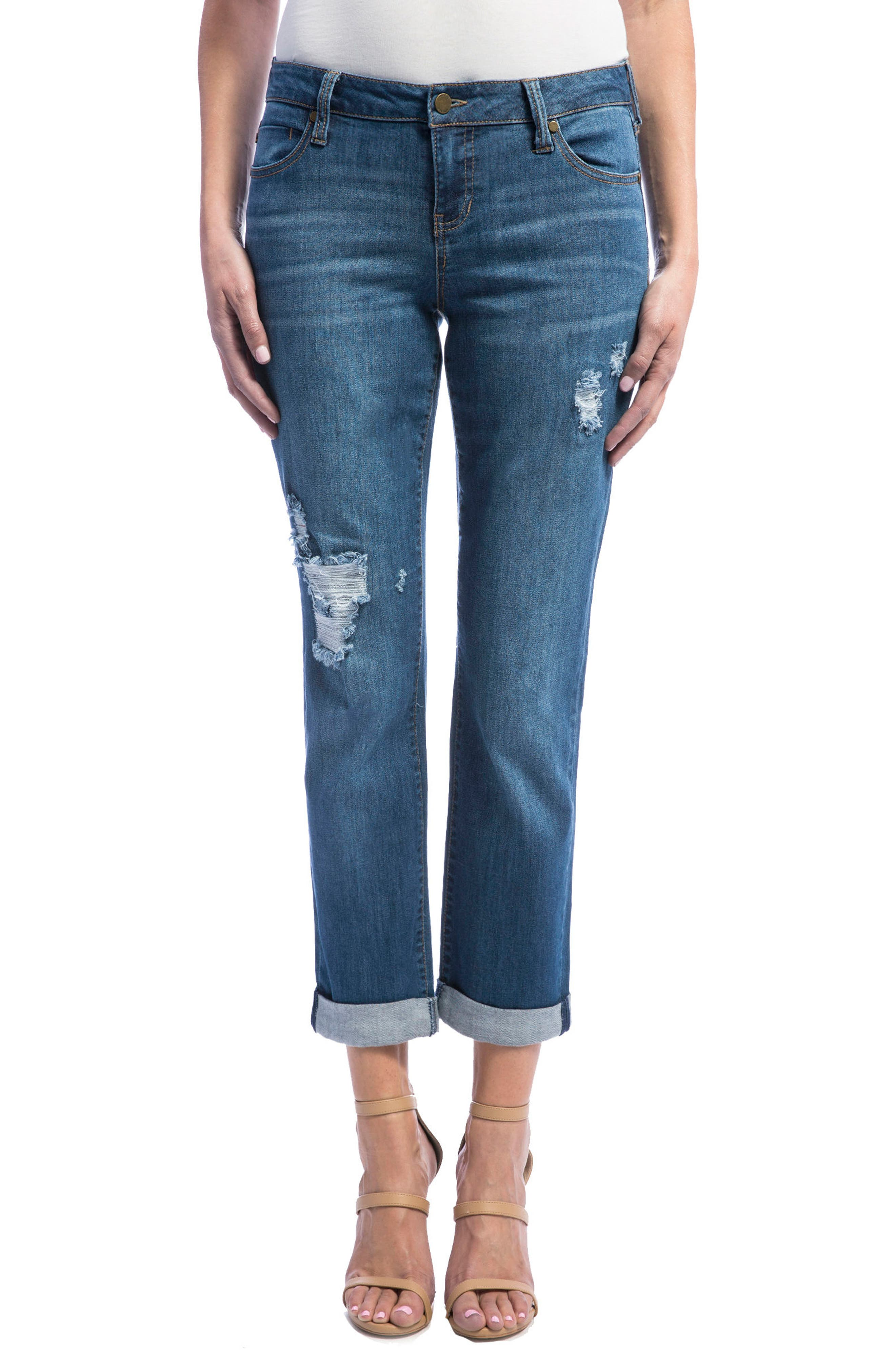 Main Image - Liverpool Jeans Company Peyton Slim Stretch Crop Boyfriend Jeans (Montauk Mid/Destruction)