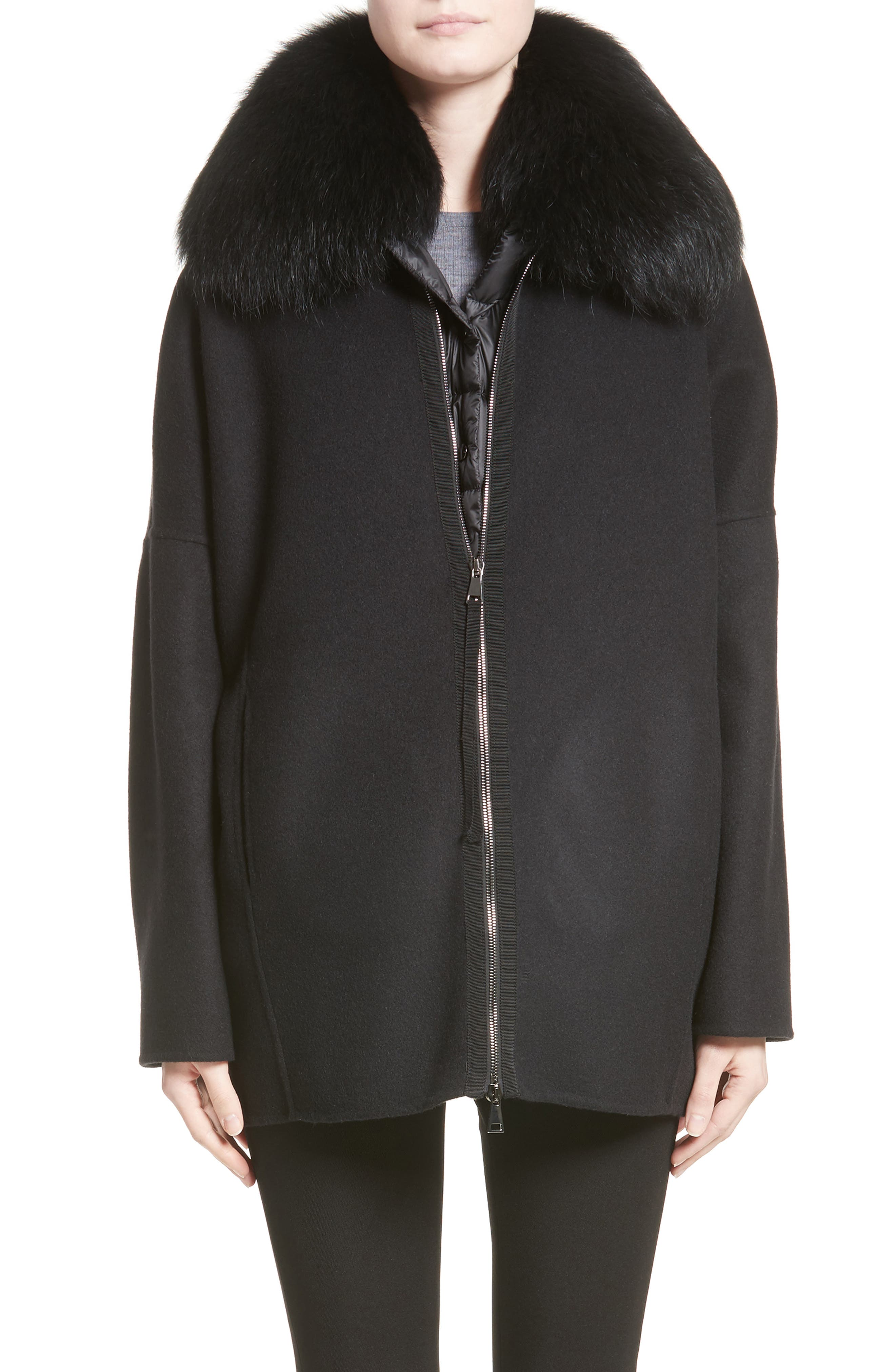 Main Image - Moncler Buxus Wool & Cashmere Coat with Removable Genuine Fox Fur Trim Vest