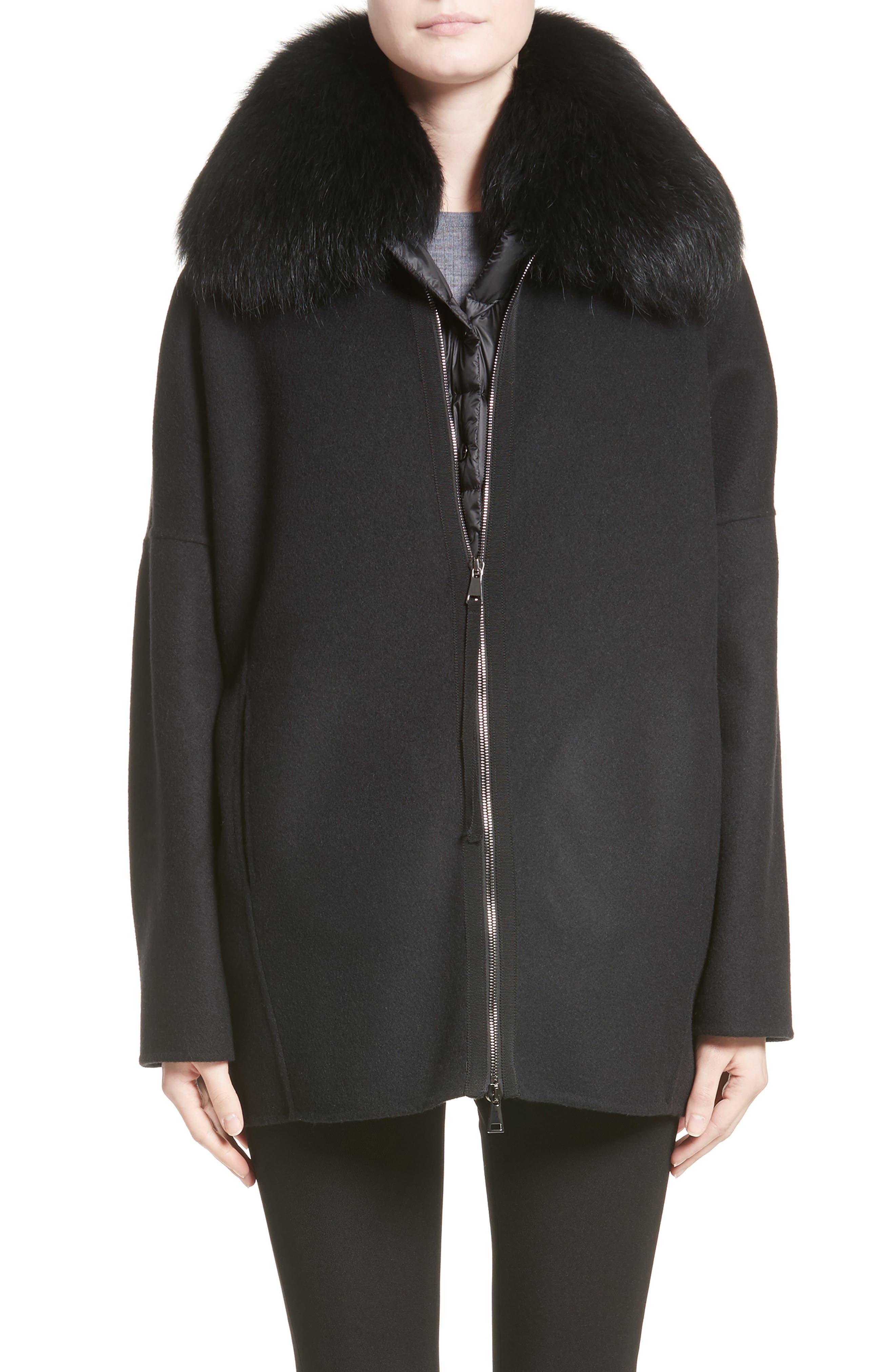Buxus Wool & Cashmere Coat with Removable Genuine Fox Fur Trim Vest,                         Main,                         color, Black