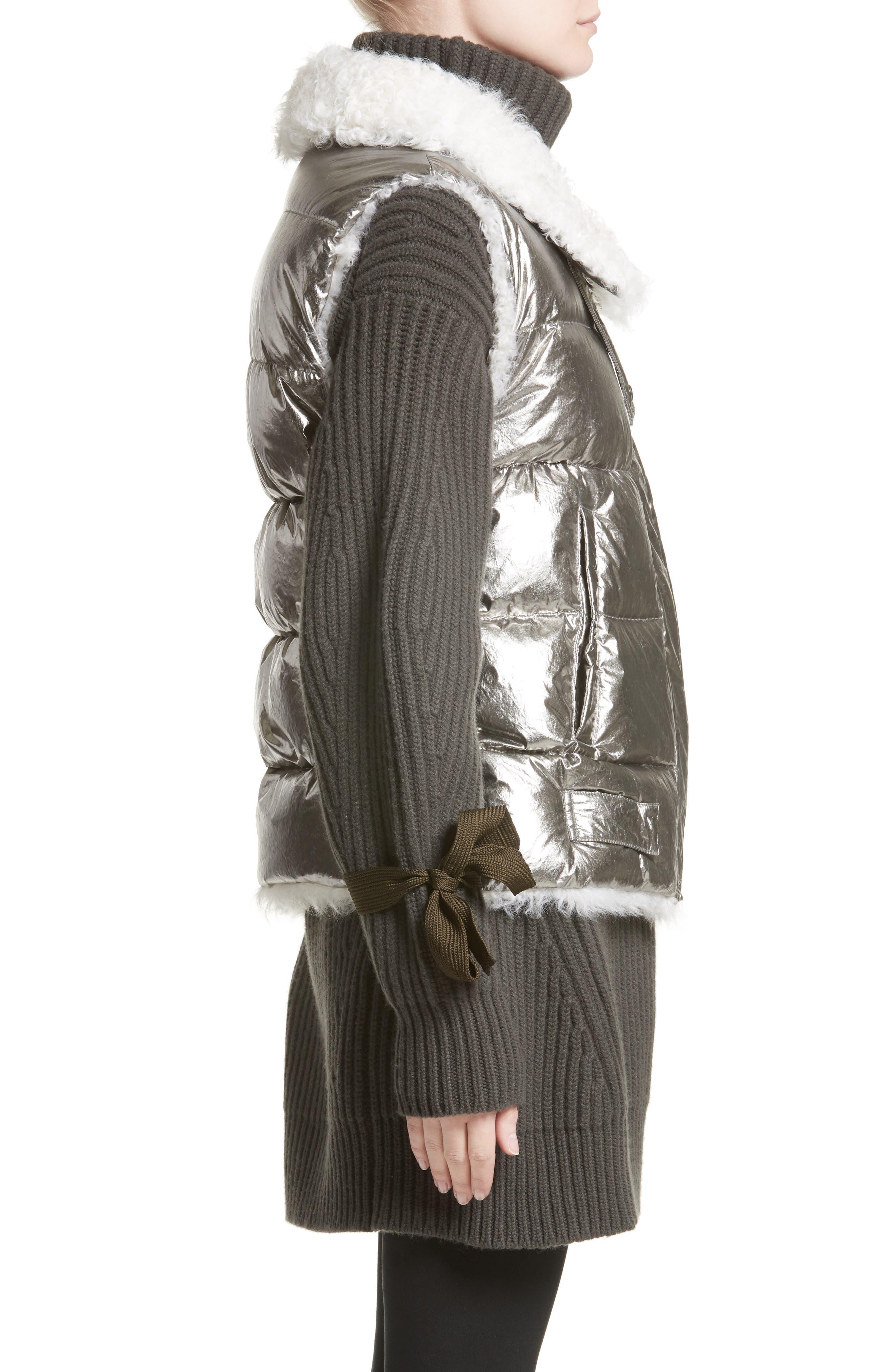 Kerria Metallic Down Vest with Genuine Shearling Trim,                             Alternate thumbnail 3, color,                             Silver