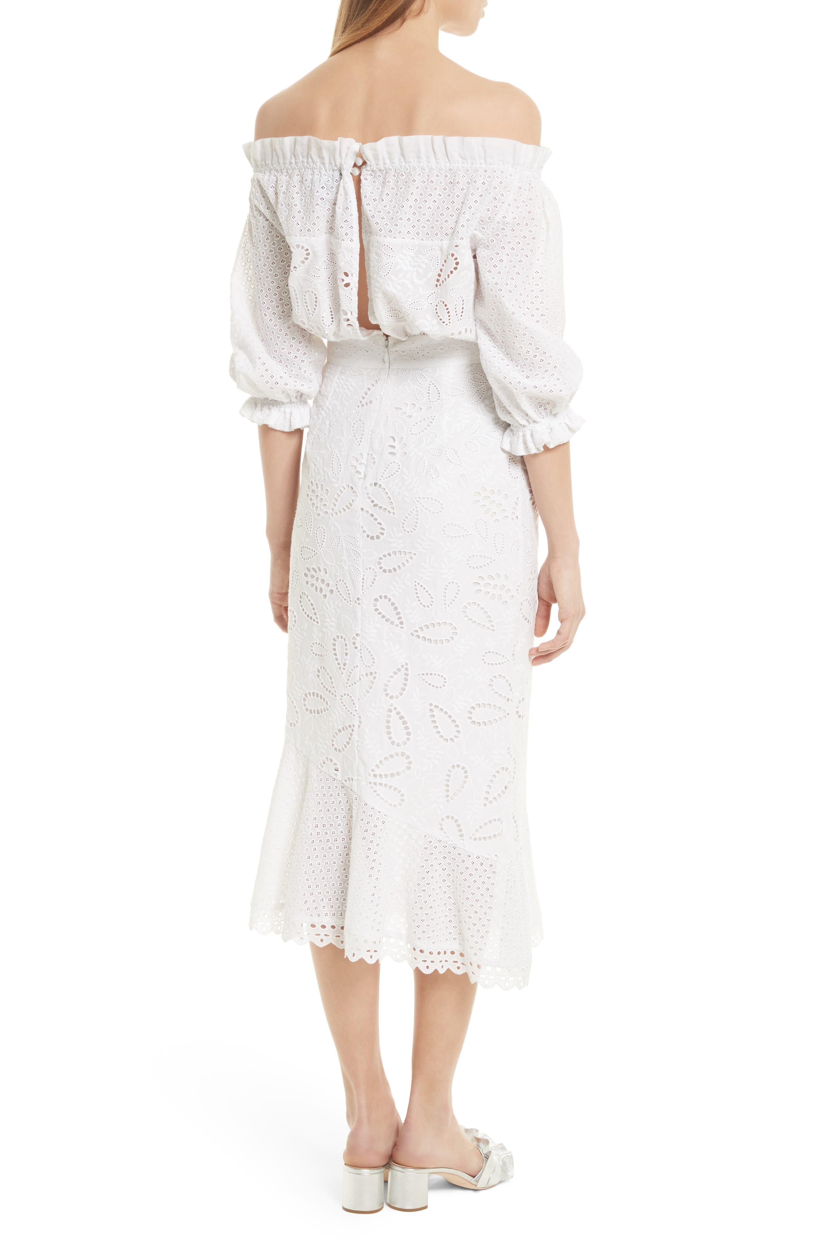 Grace Cotton Off the Shoulder Dress,                             Alternate thumbnail 2, color,                             White/ French Lace