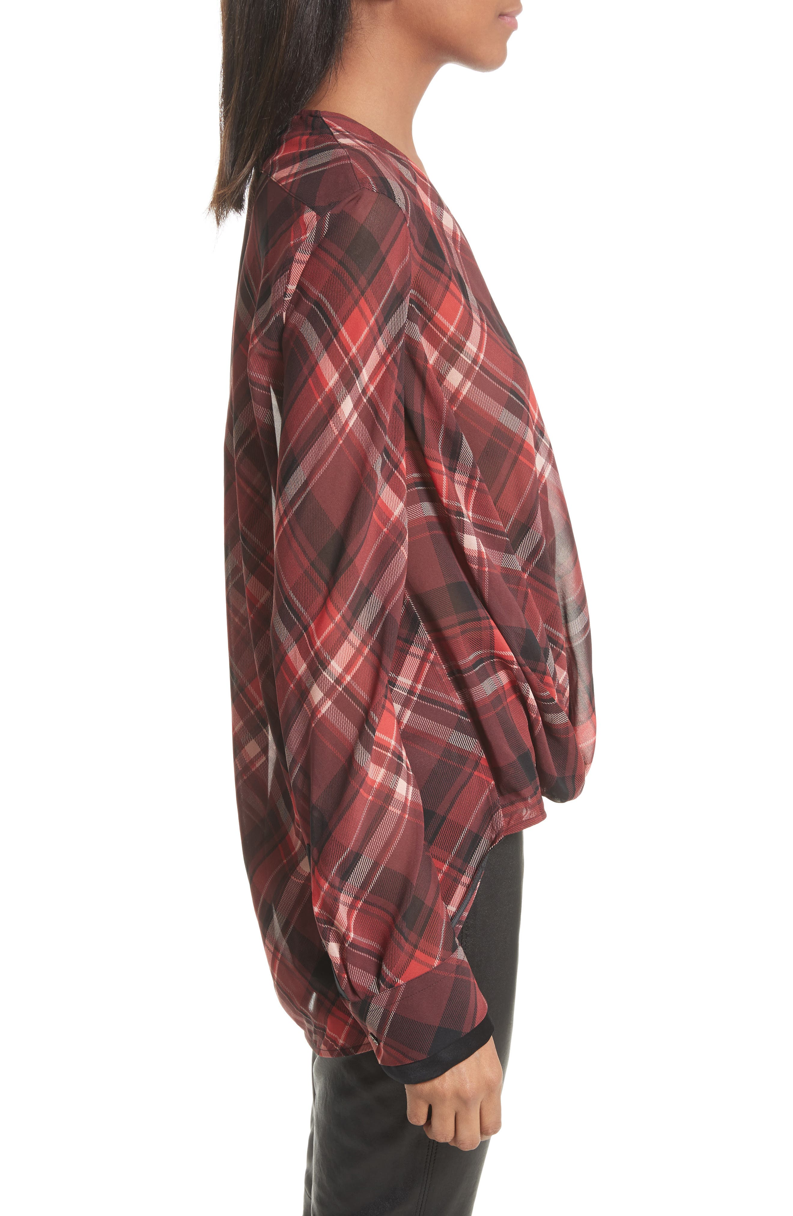 Victor Stretch Silk Blouse,                             Alternate thumbnail 4, color,                             Red Plaid