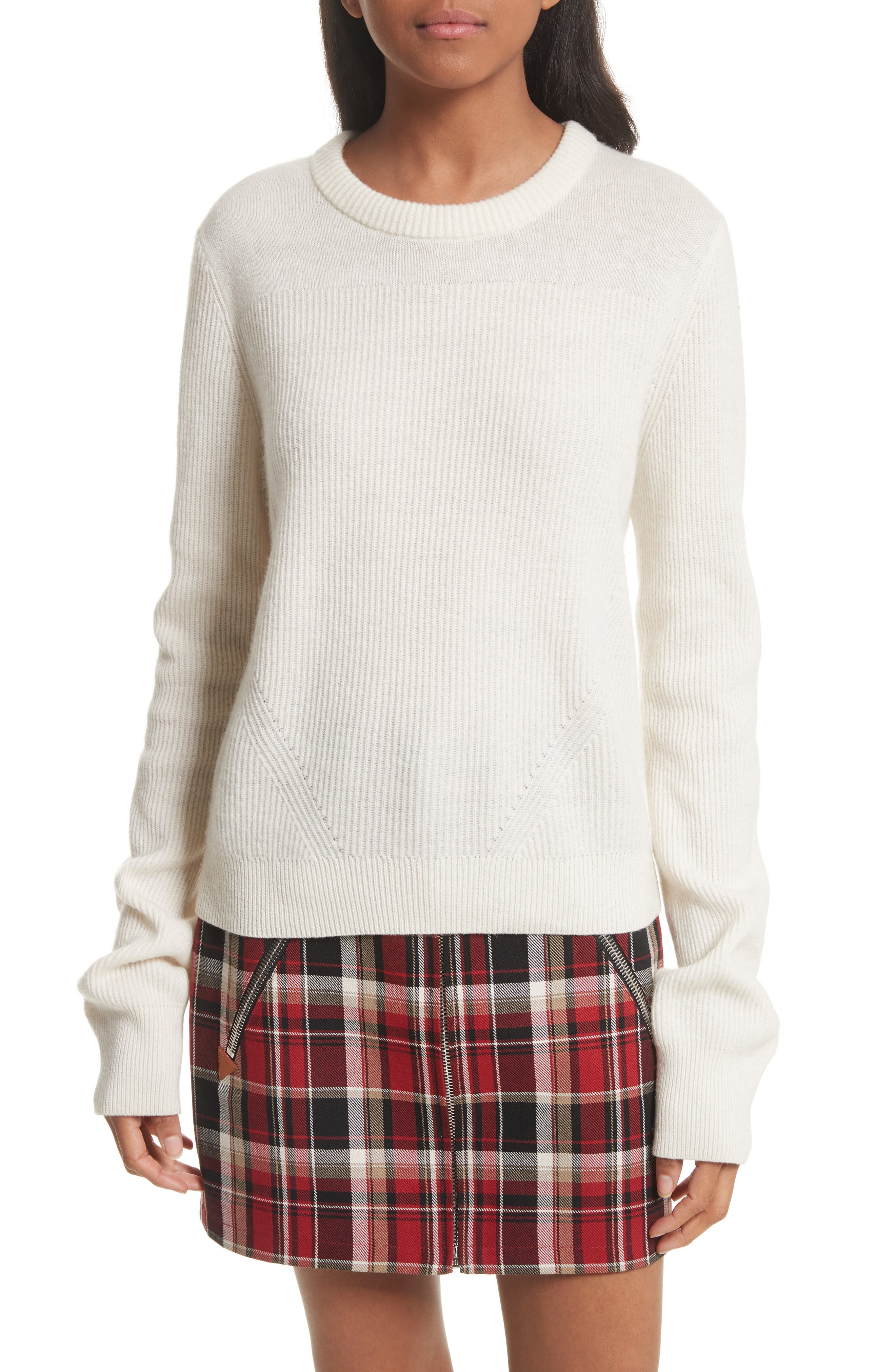 Ace Cashmere Crop Sweater,                             Main thumbnail 1, color,                             Ivory