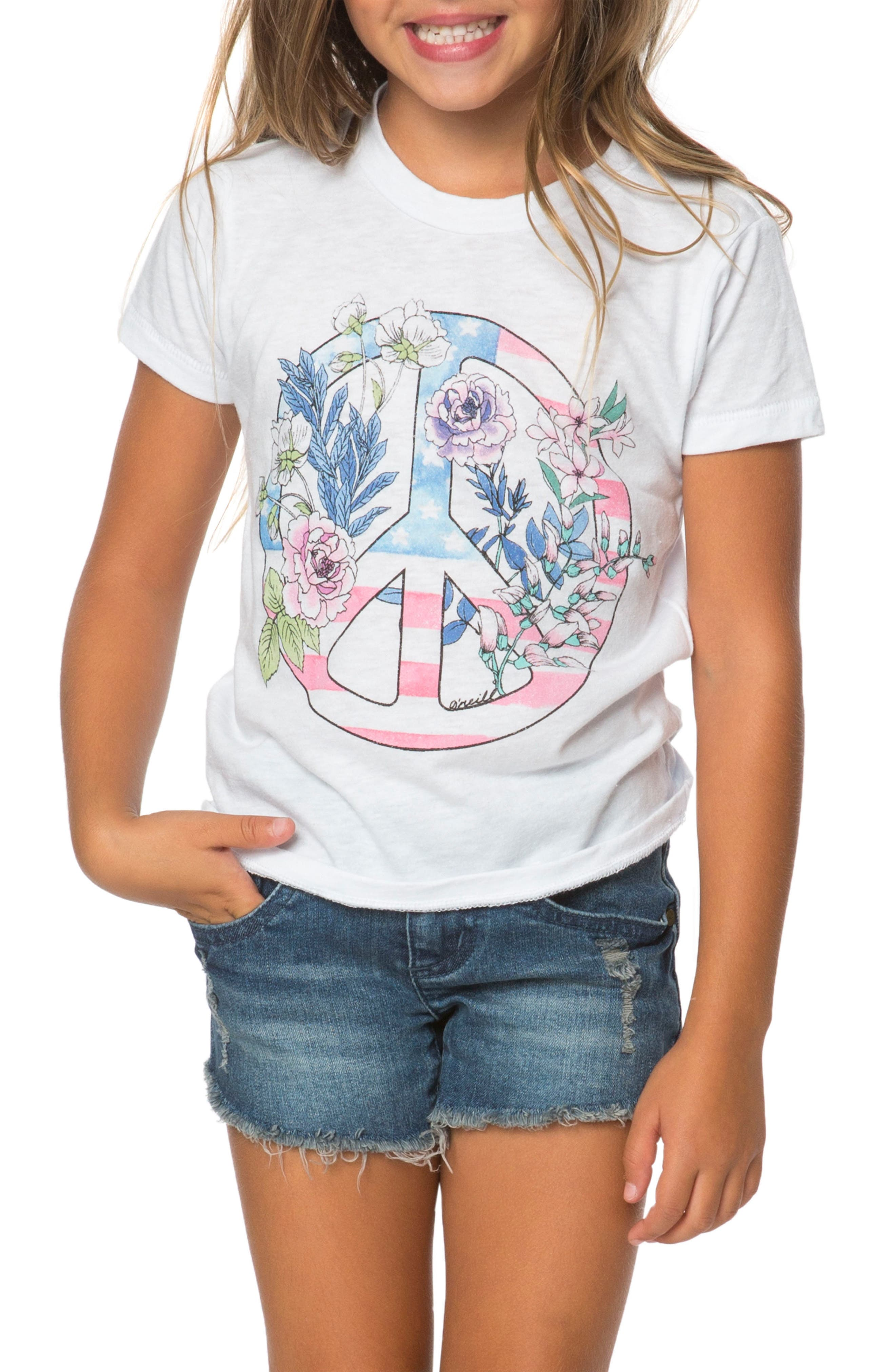 Main Image - O'Neill Freedom Flowers Graphic Tee (Toddler Girls & Little Girls)