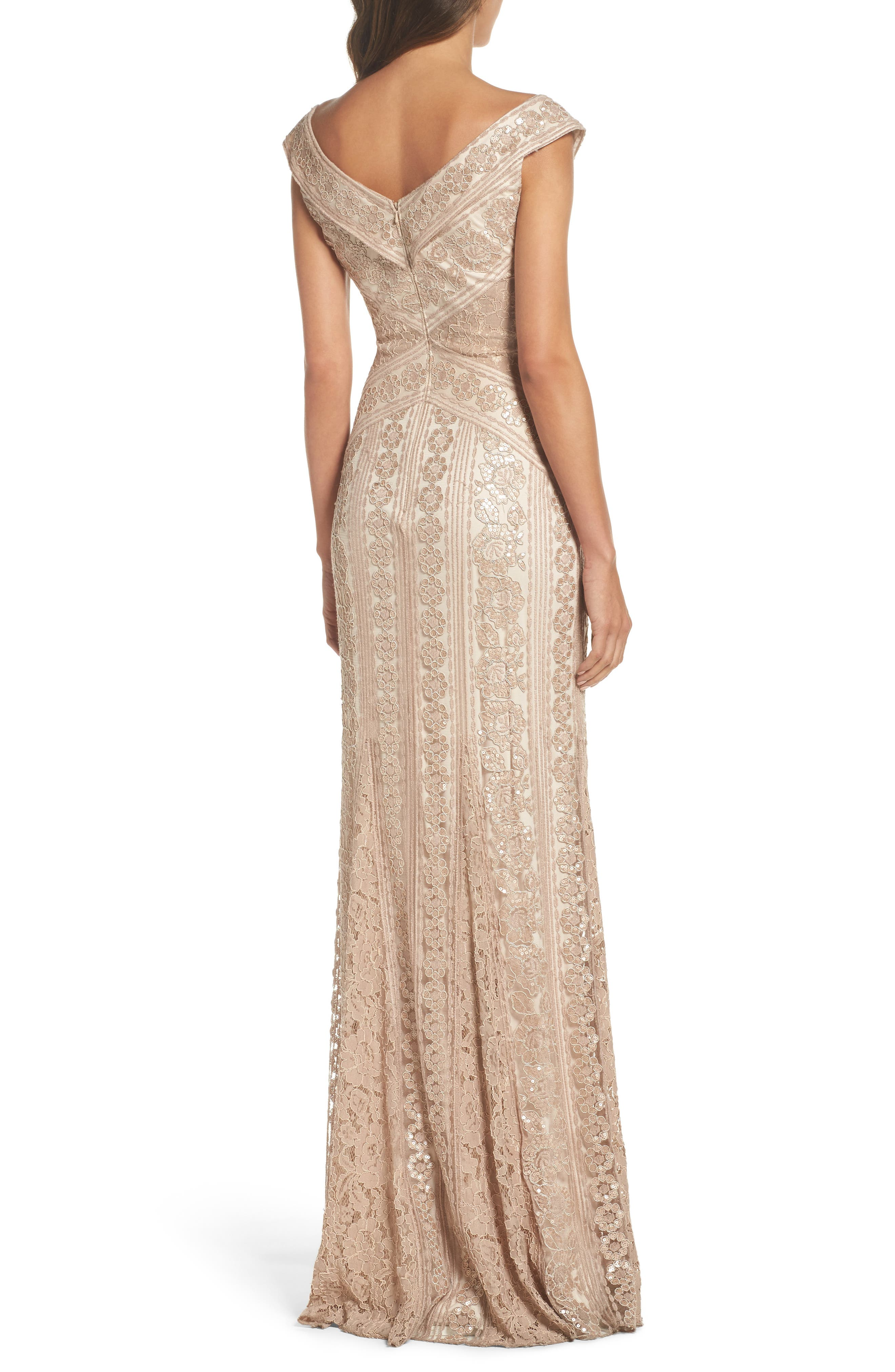 Sequin Gown,                             Alternate thumbnail 2, color,                             Champagne