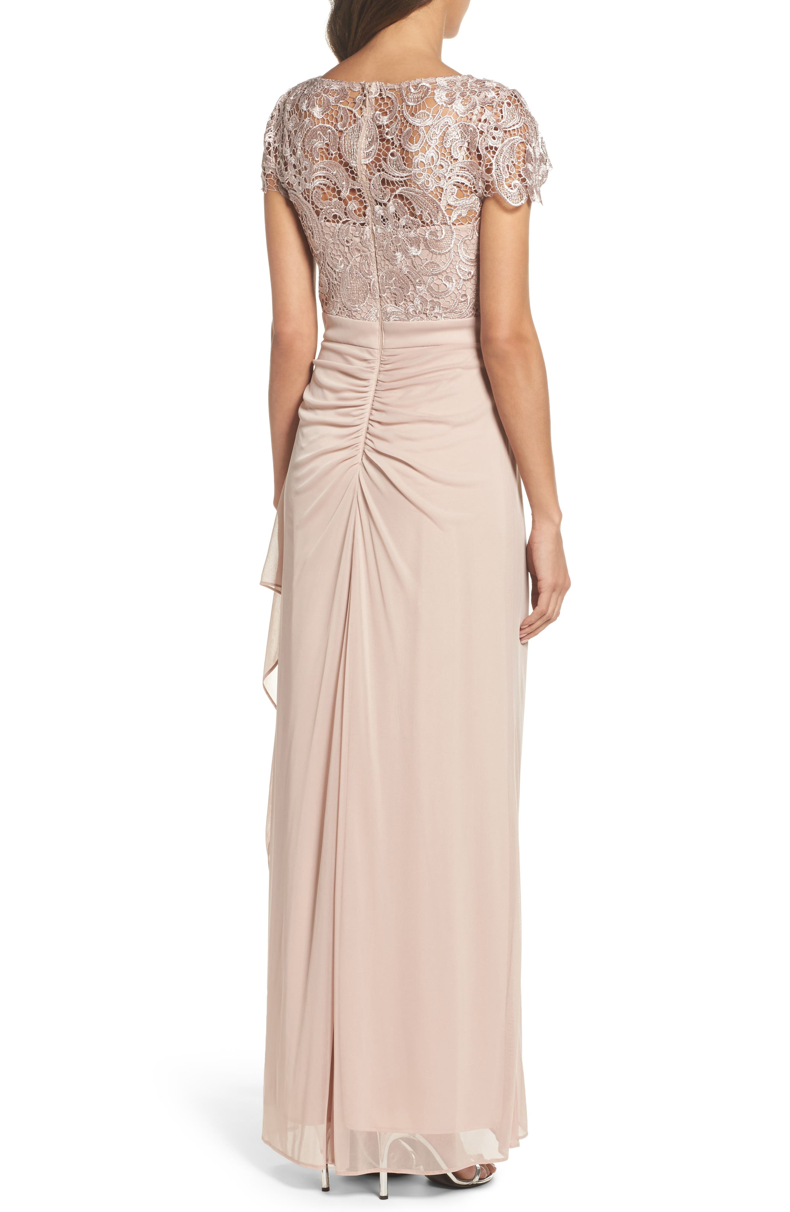 Lace Column Gown,                             Alternate thumbnail 2, color,                             Taupe