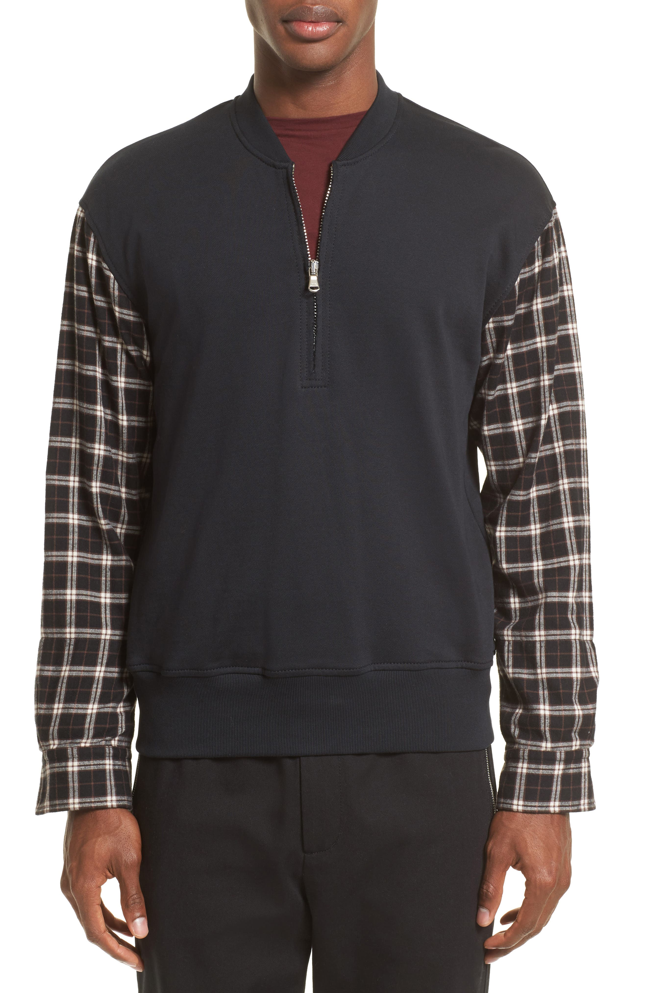 Pullover Bomber with Flannel Sleeves,                         Main,                         color, Soft Black