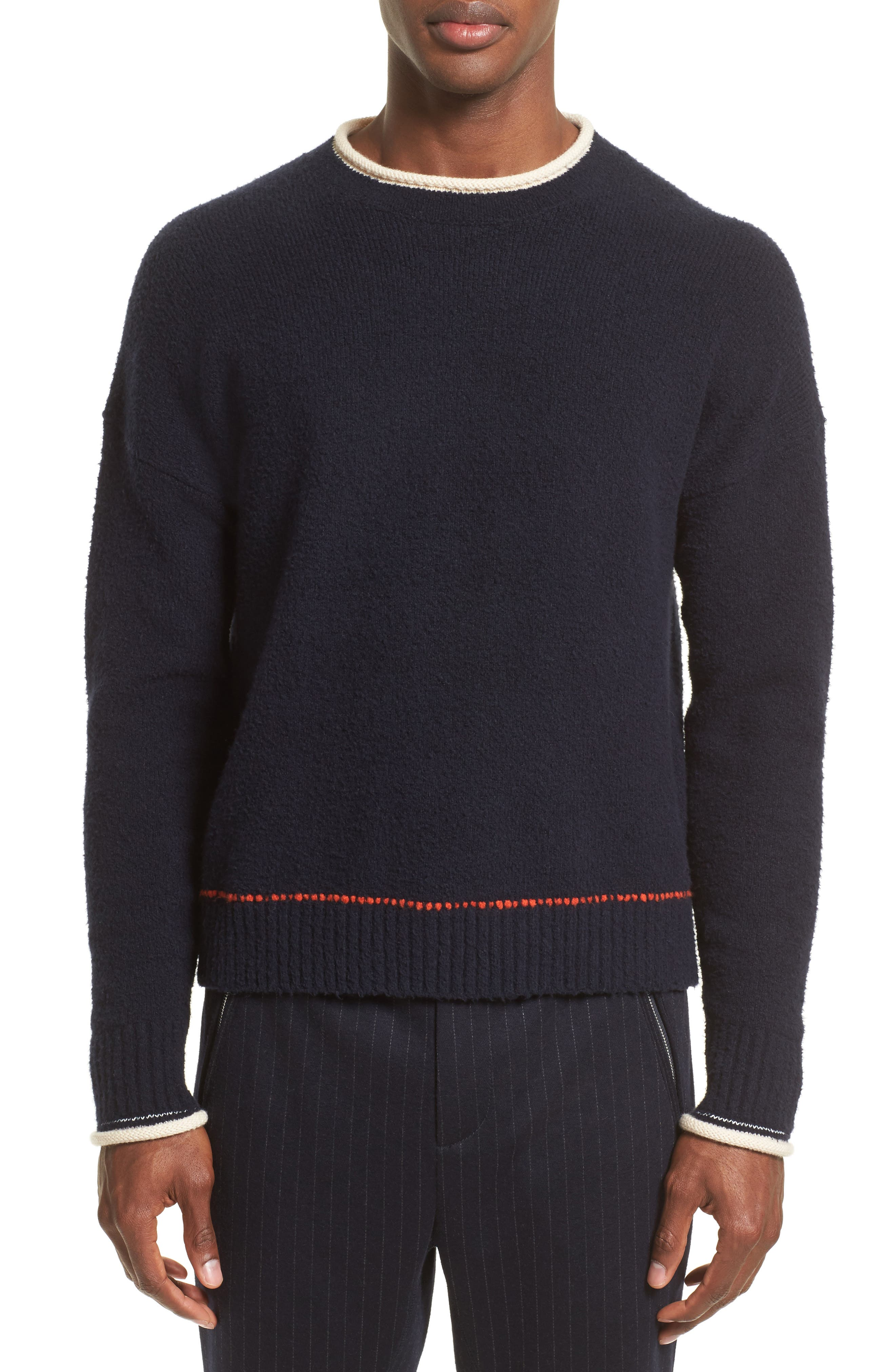Plaited Sweater,                         Main,                         color, Dark Navy