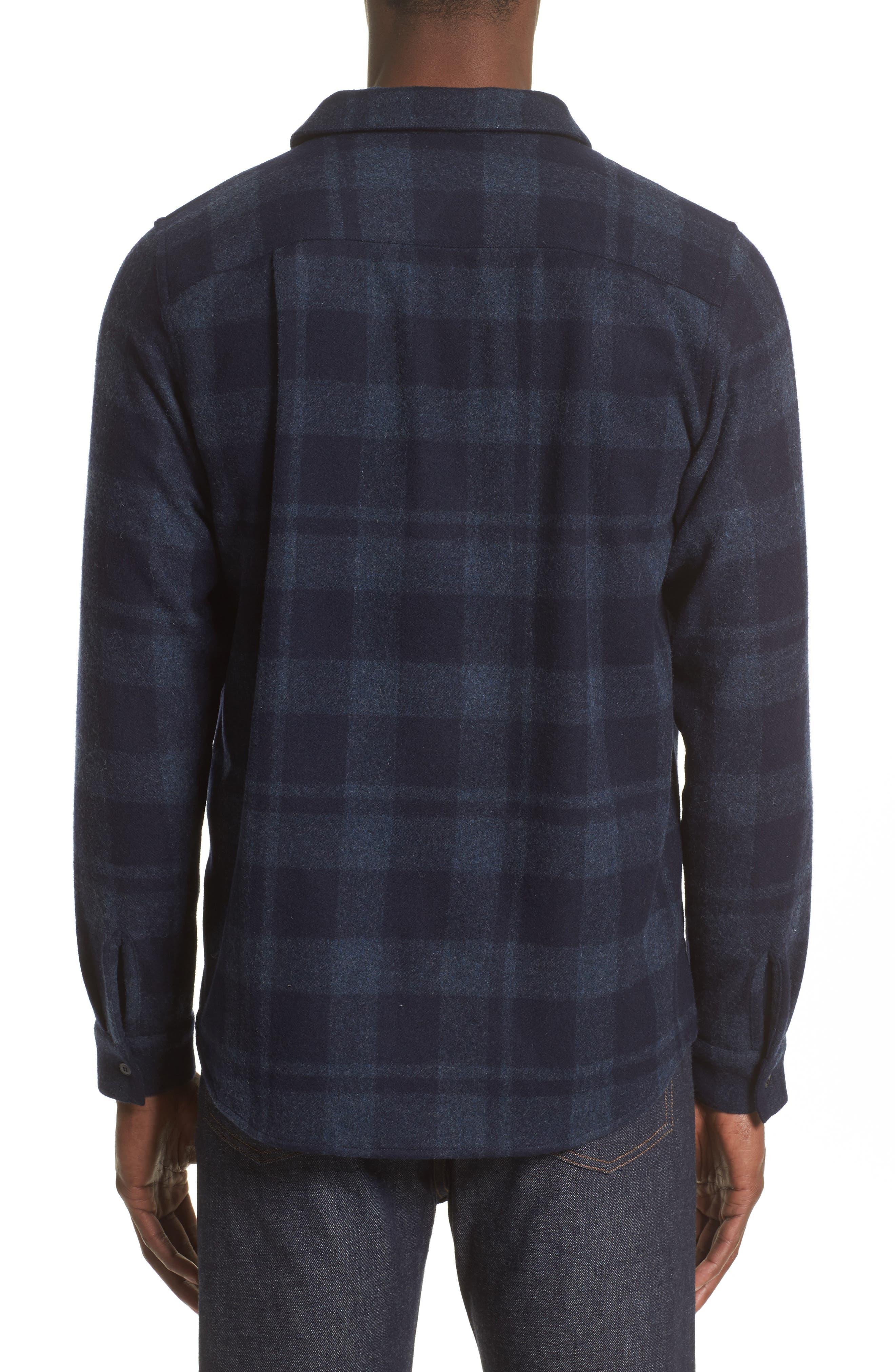 Flannel Plaid Shirt,                             Alternate thumbnail 2, color,                             Marine