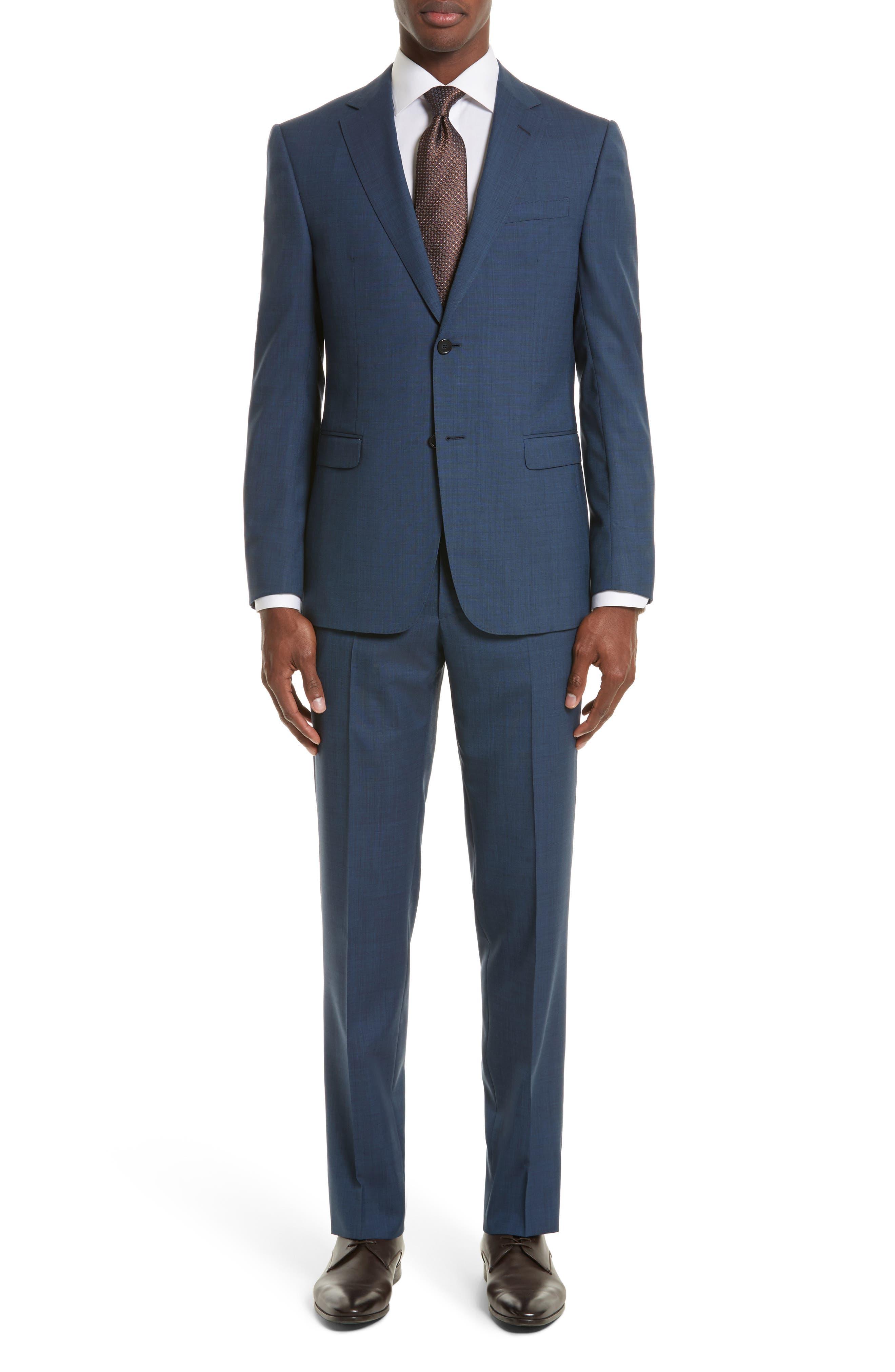 Drop 7 Trim Fit Solid Wool & Silk Suit,                         Main,                         color, Navy