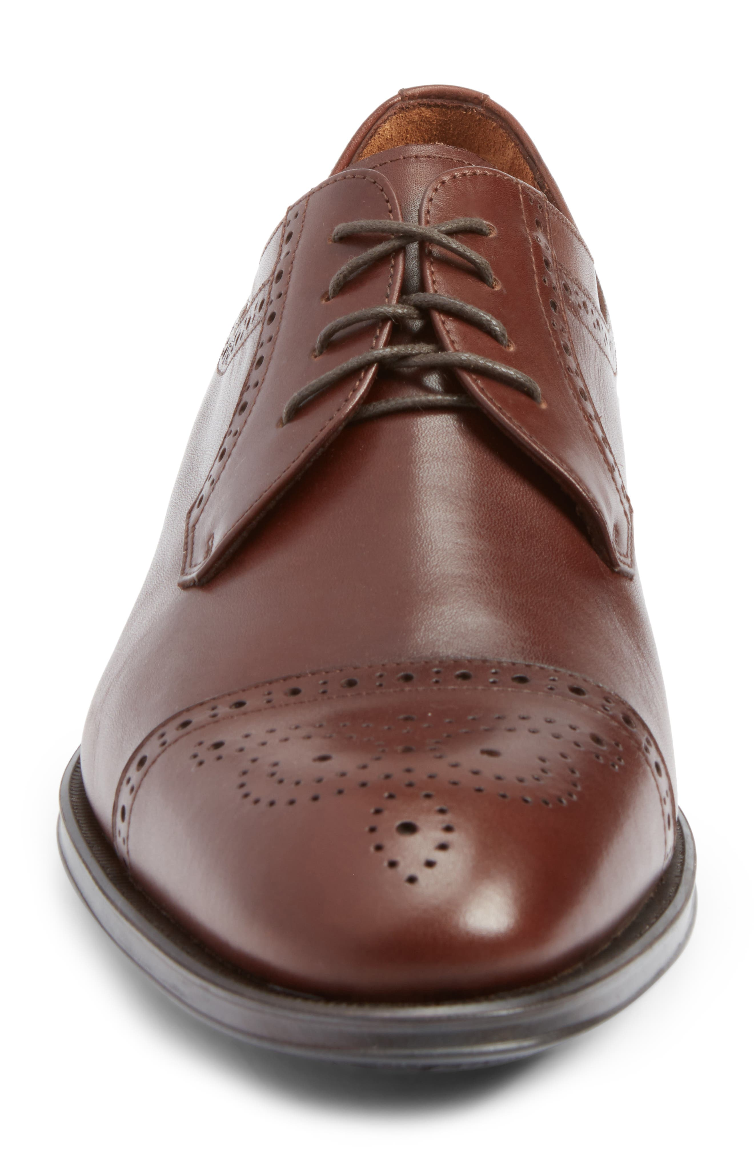 Duke Medallion Toe Derby,                             Alternate thumbnail 4, color,                             Burnished Cognac Leather