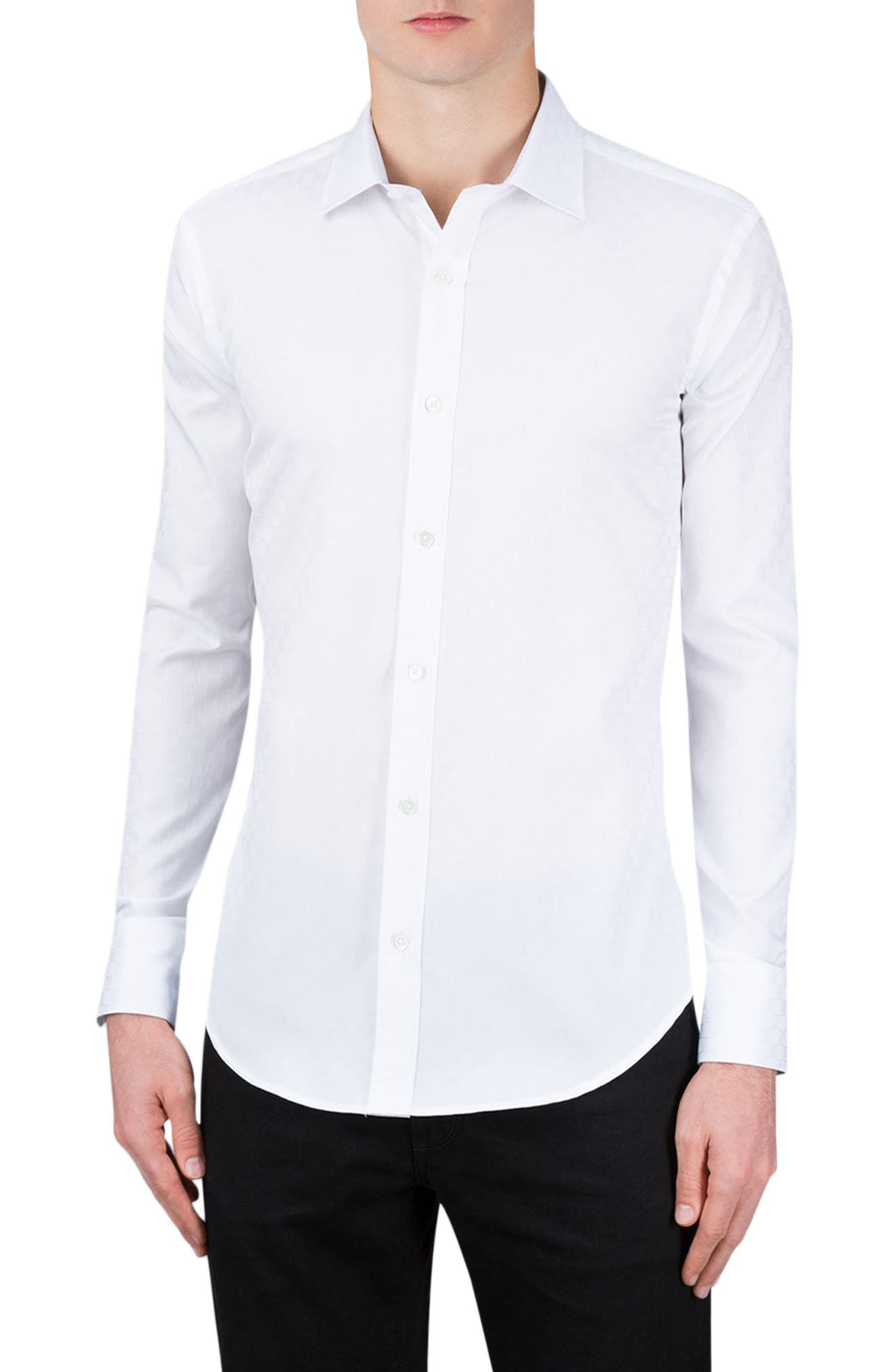 Shaped Fit Checker Print Sport Shirt,                         Main,                         color, White