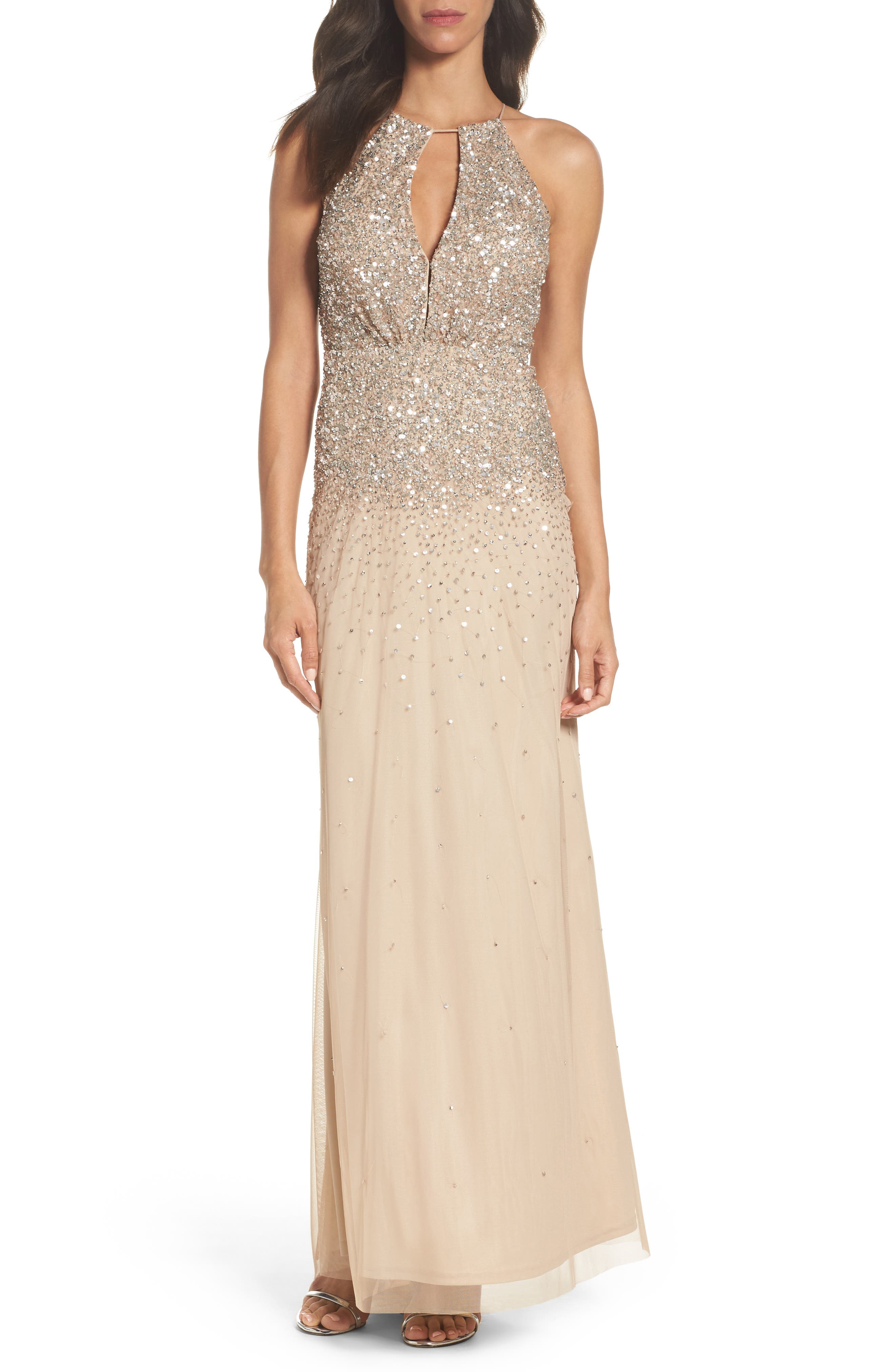 Beaded Halter Gown,                         Main,                         color, Champagne