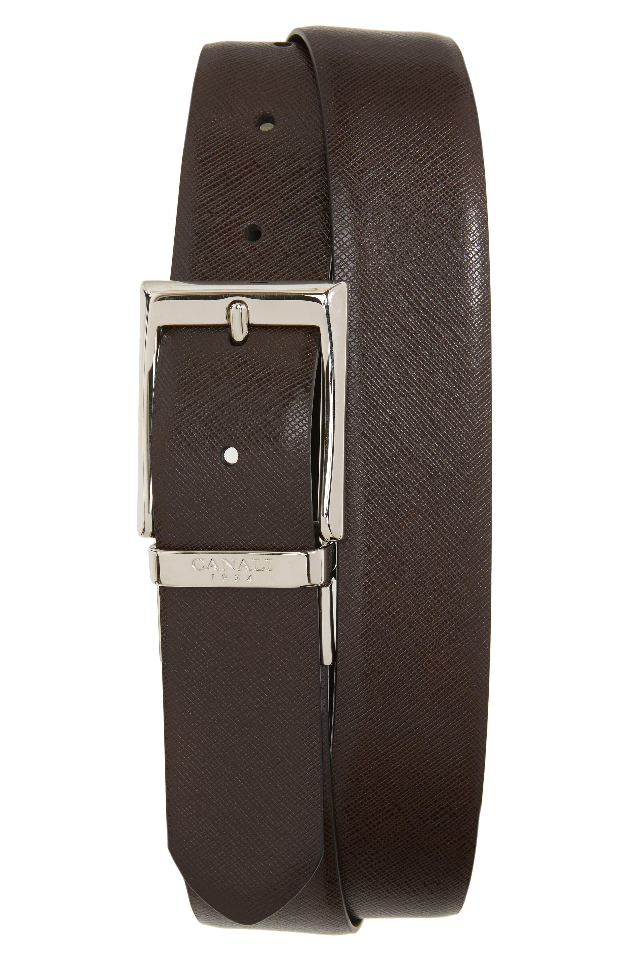 Reversible Leather Belt,                         Main,                         color, Chocolate/ Black