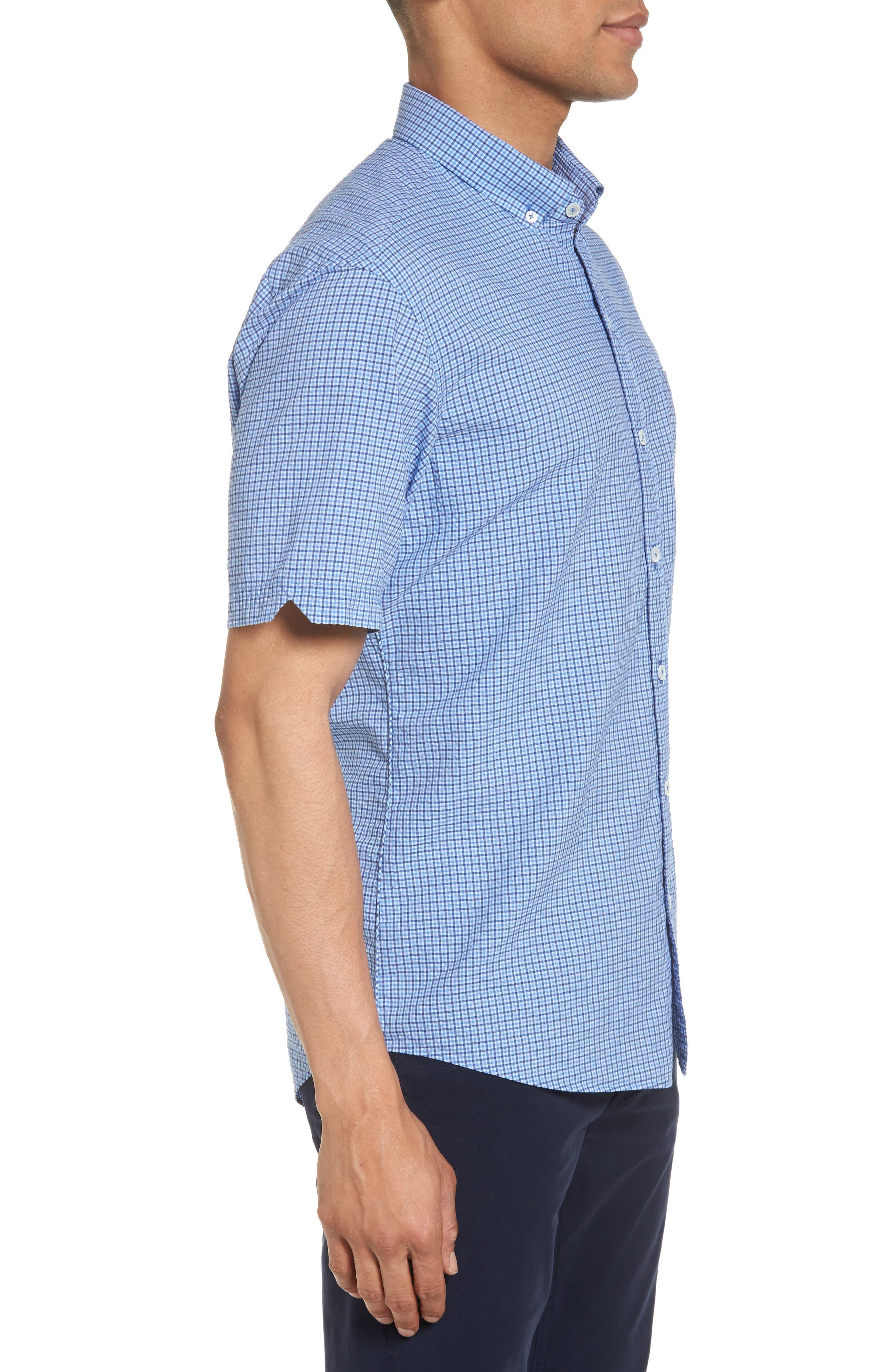 Short Sleeve Sport Shirt,                             Alternate thumbnail 3, color,                             Teal
