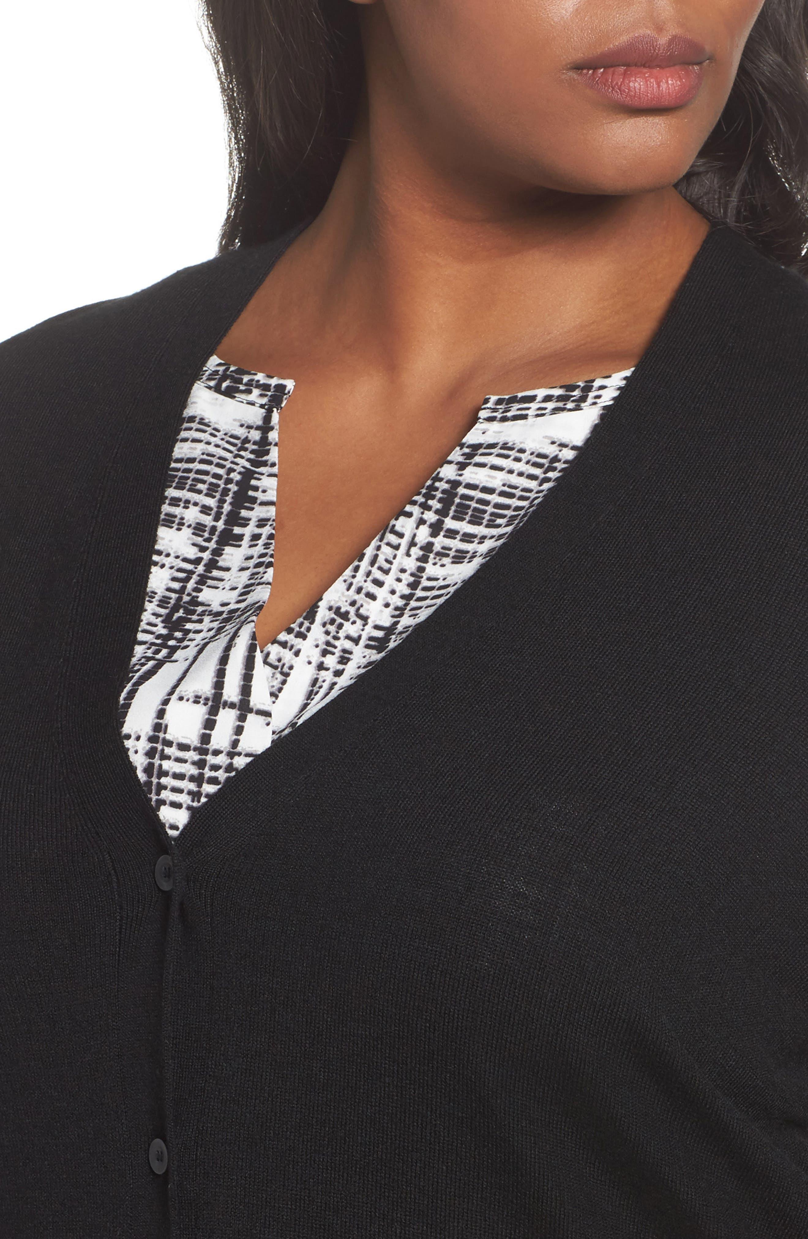 V-Neck Wool Blend Cardigan,                             Alternate thumbnail 4, color,                             Black