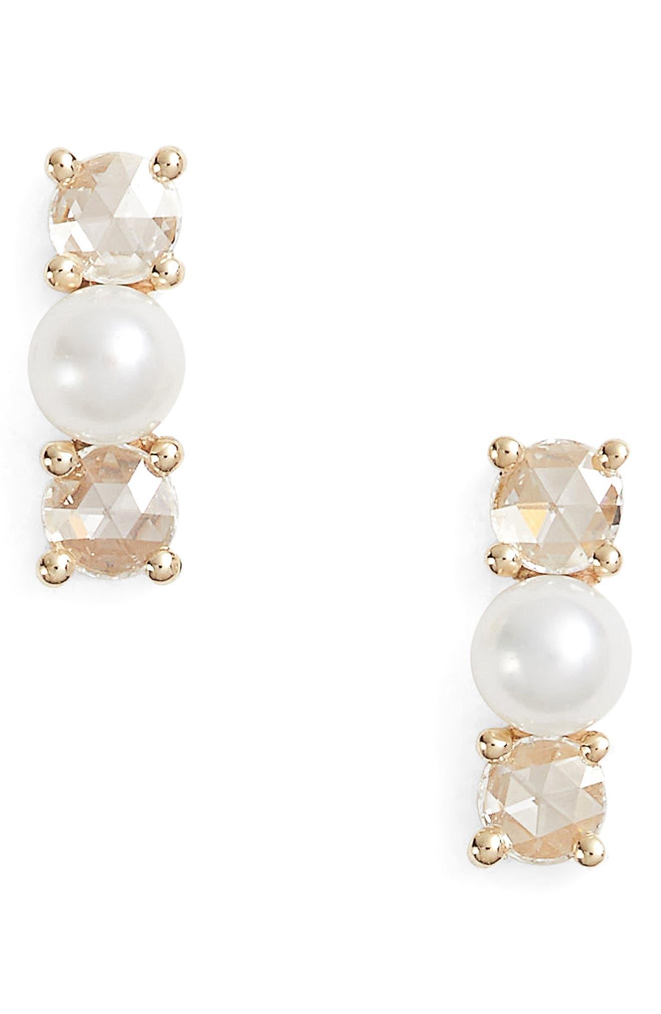 Mini Pearl & Diamond Stud Earrings,                             Main thumbnail 1, color,                             Yellow Gold