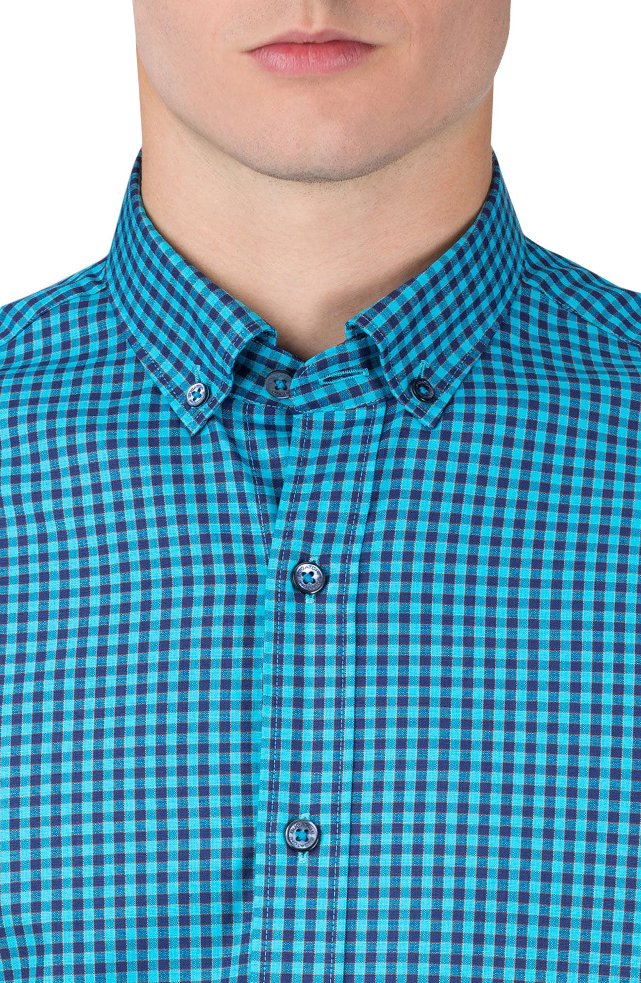 Shaped Fit Gingham Sport Shirt,                             Alternate thumbnail 3, color,                             Turquoise
