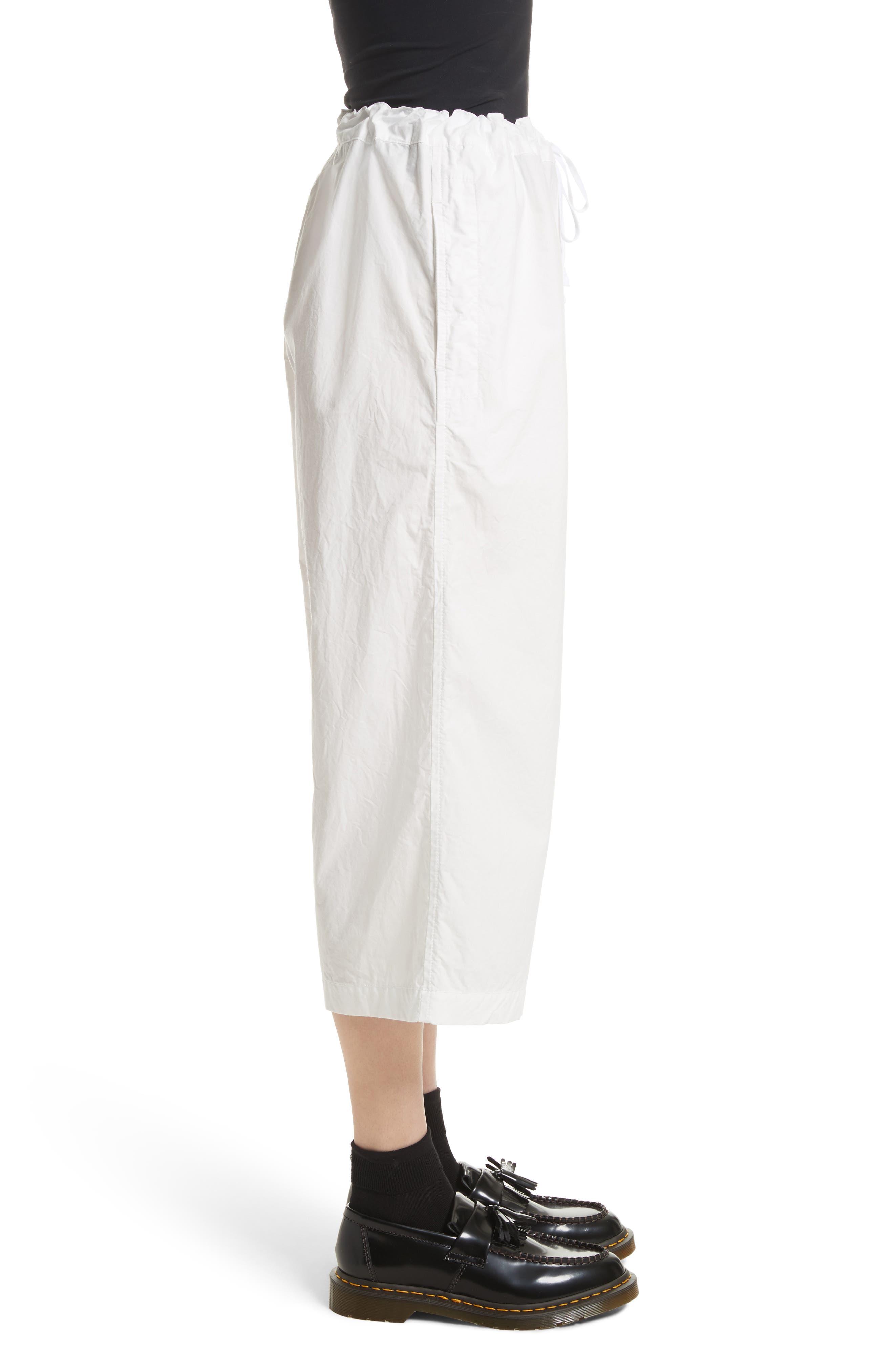 Washed Cotton Wide Leg Crop Pants,                             Alternate thumbnail 4, color,                             White