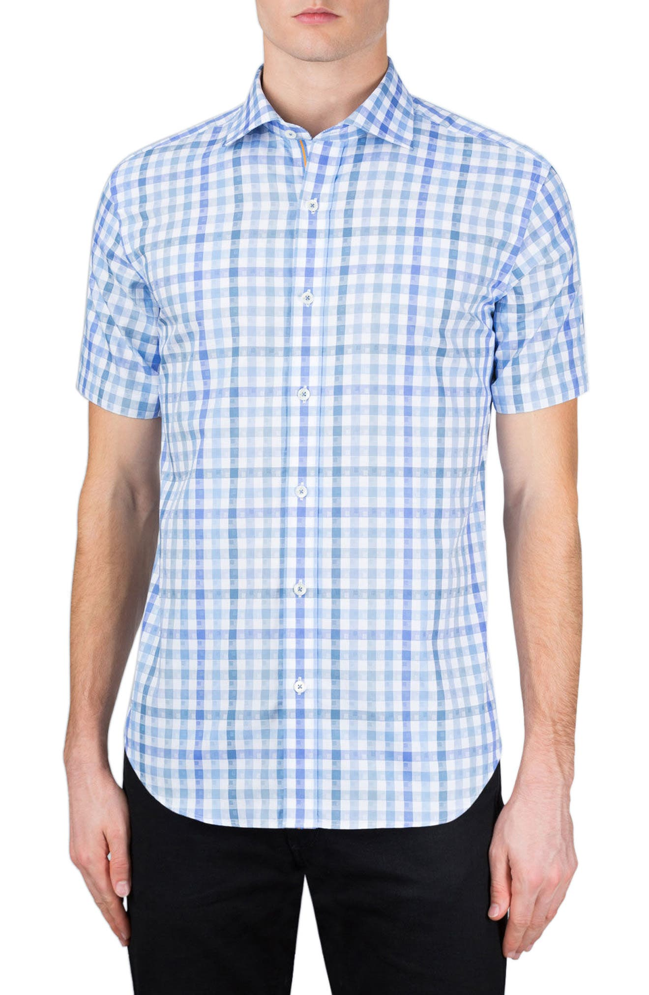 Classic Fit Check Short Sleeve Sport Shirt,                         Main,                         color, Sky