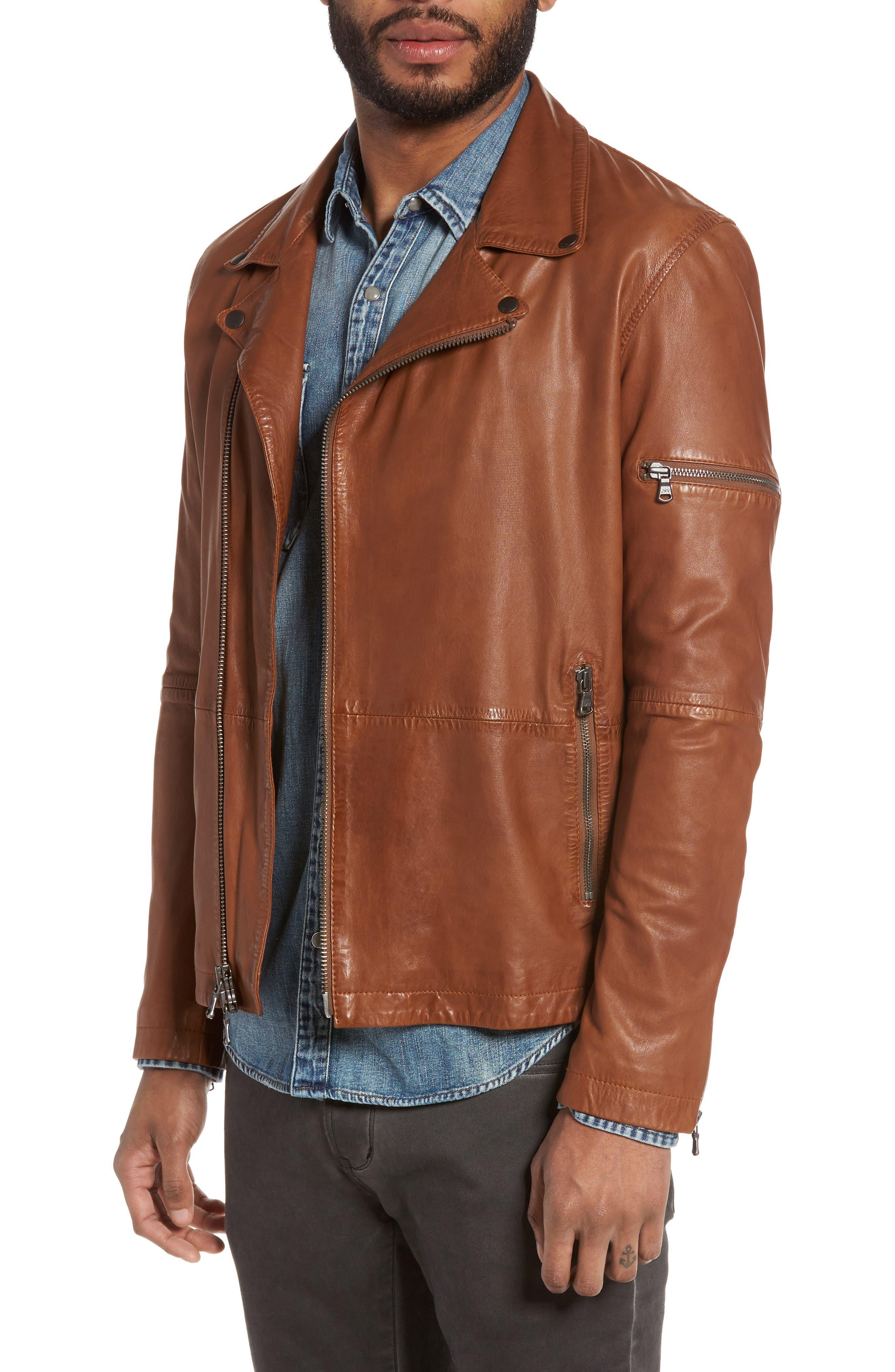 Leather Moto Jacket,                         Main,                         color, Antique