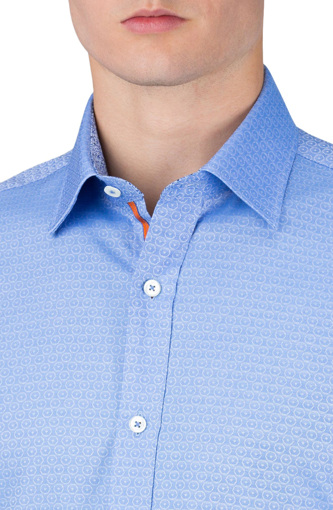 Alternate Image 3  - Bugatchi Shaped Fit Medallion Sport Shirt